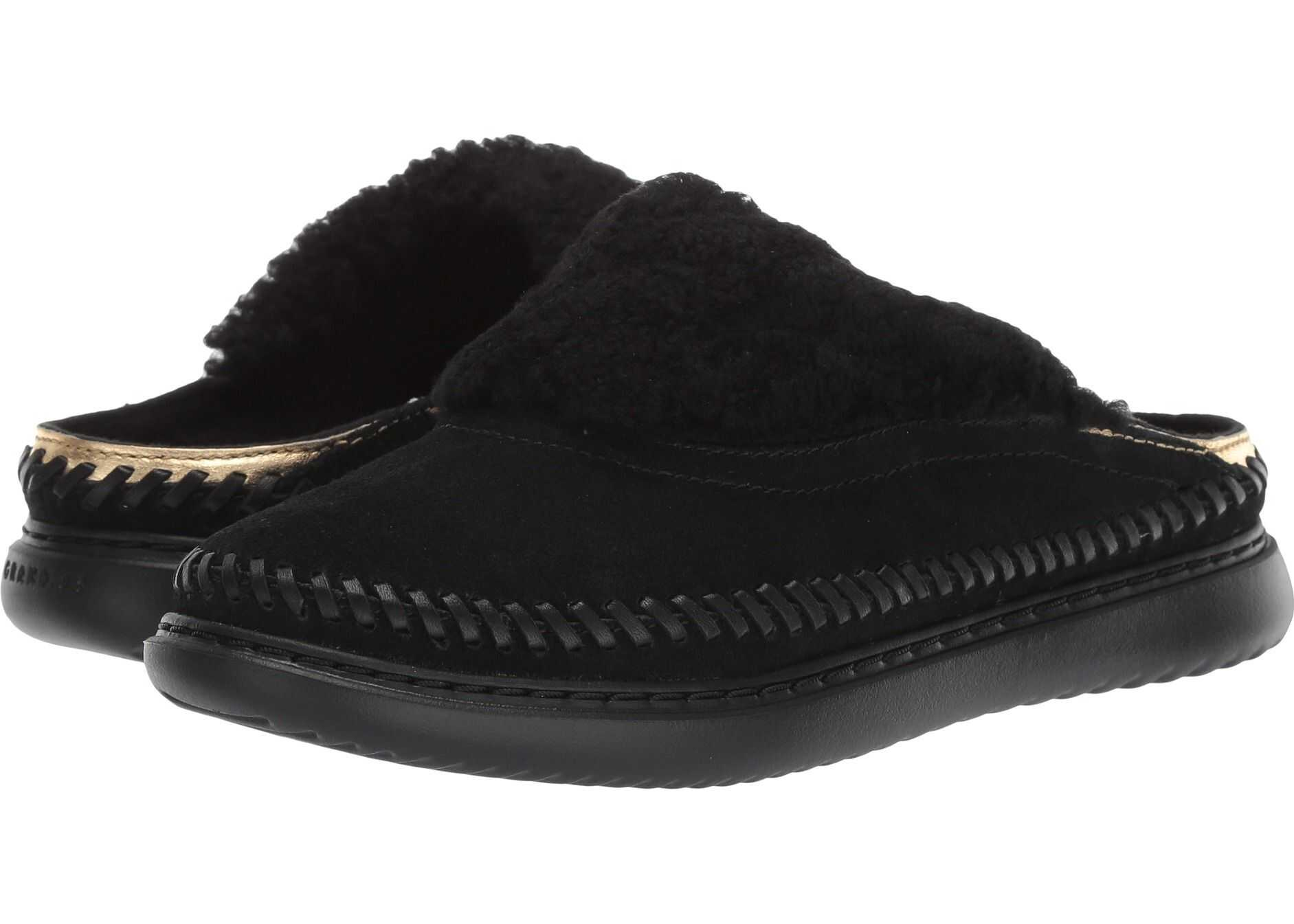 Cole Haan 2.ZeroGrand Convertible Slip-On Black Suede/Ch Gold Metallic Leather/Black Shearling/Black
