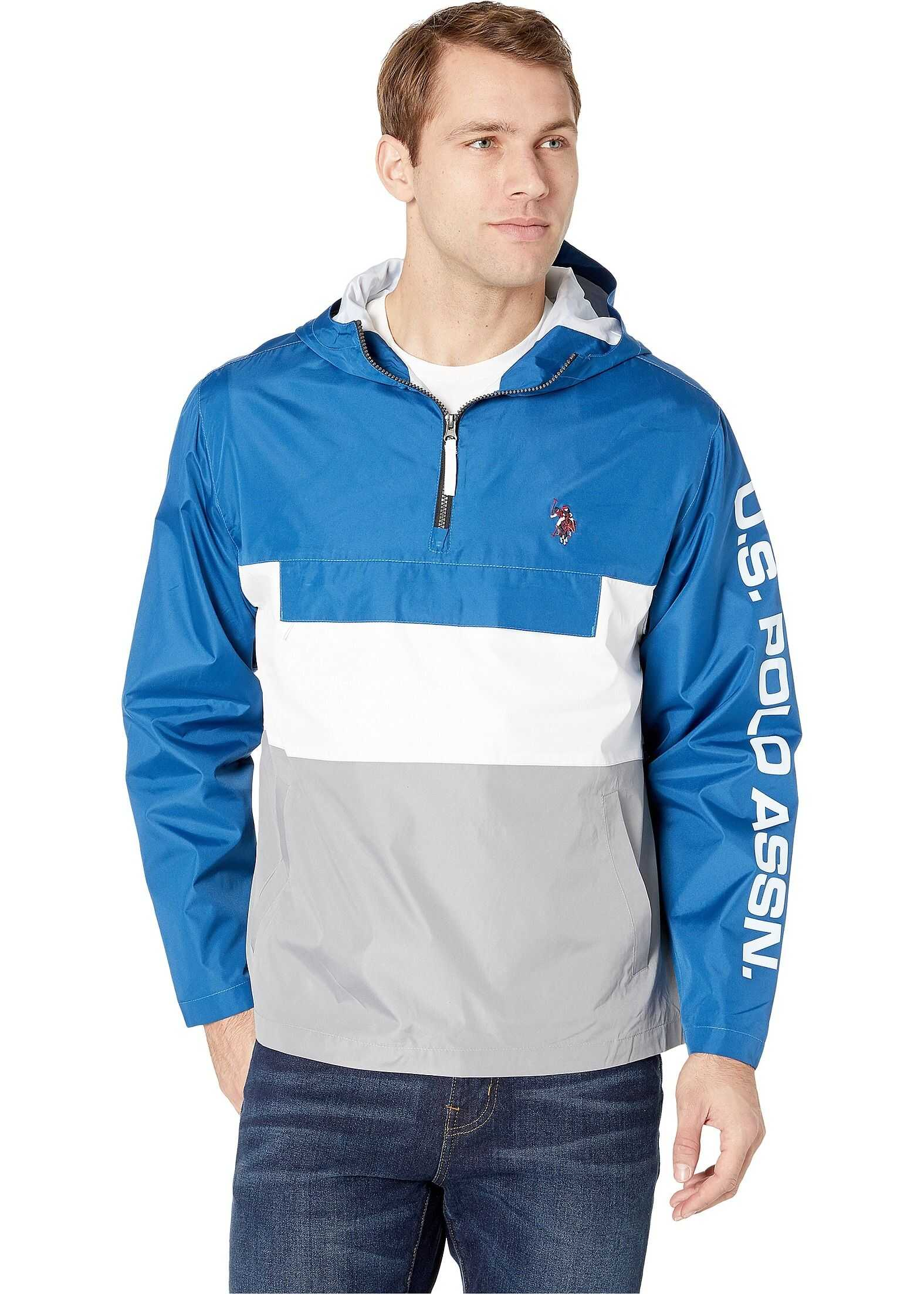 U.S. POLO ASSN. Color Block Windbreaker Blue/White