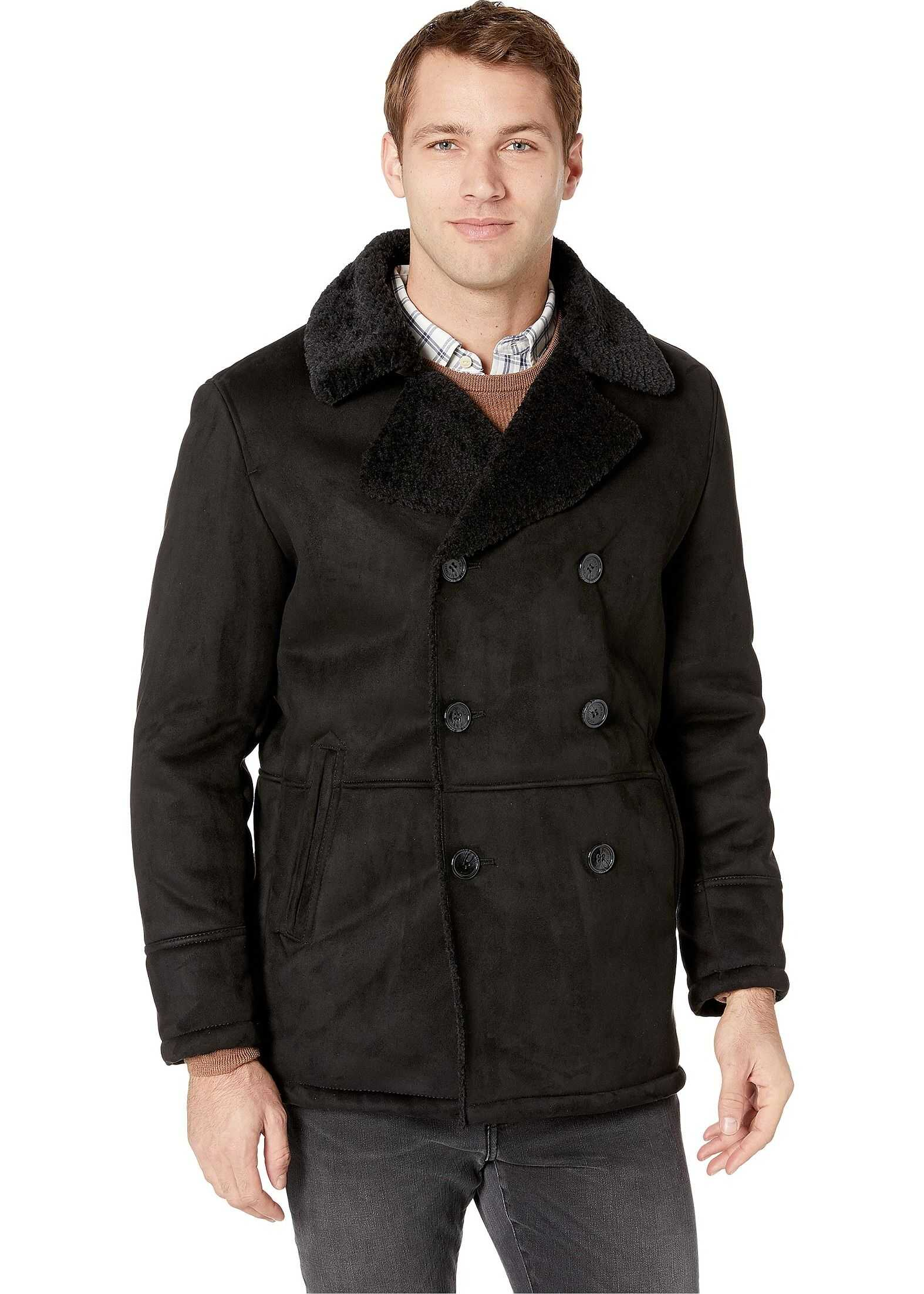 Double Breasted Faux Shearling Jacket w/ Notch