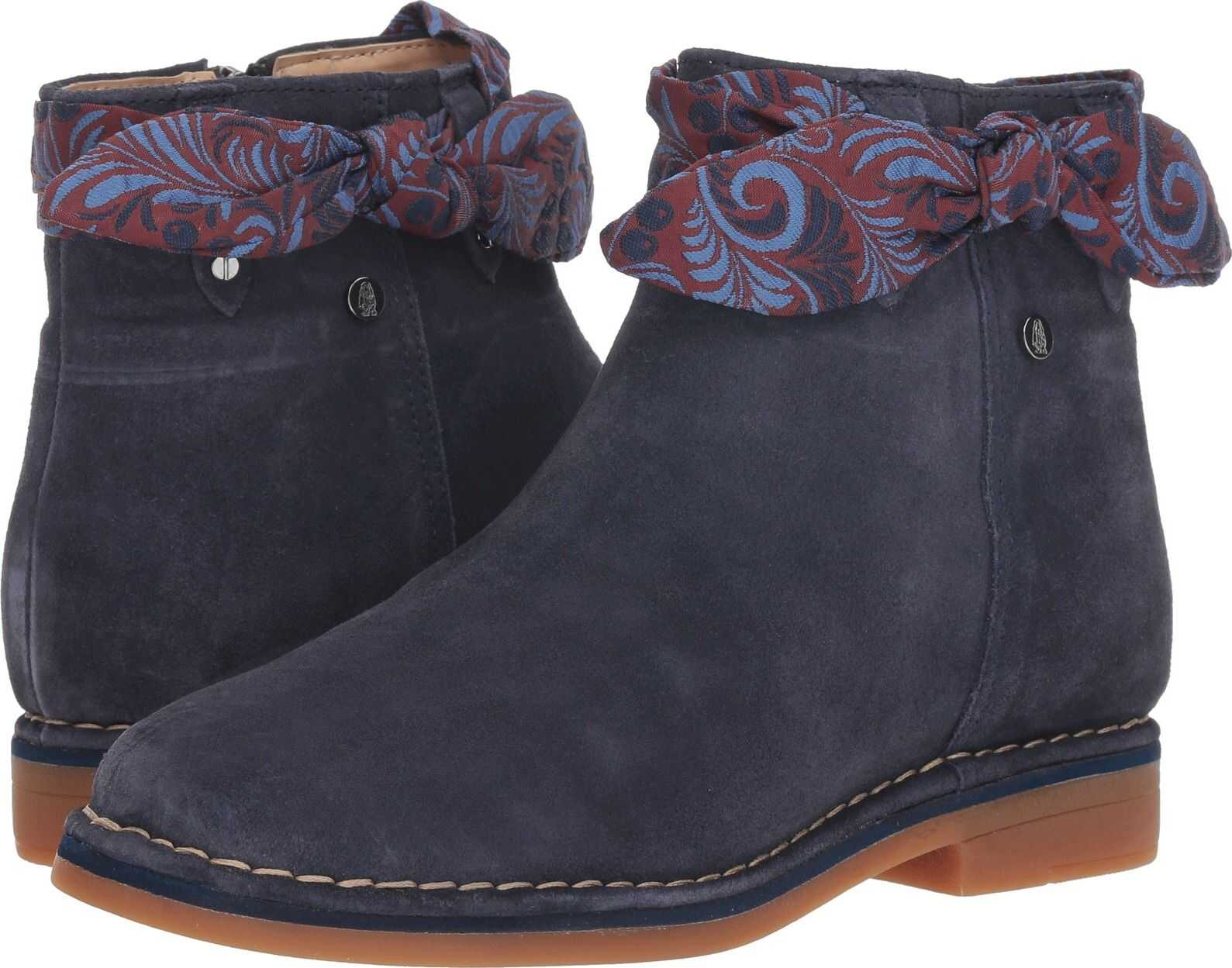 Hush Puppies Catelyn Bow Boot Navy Suede