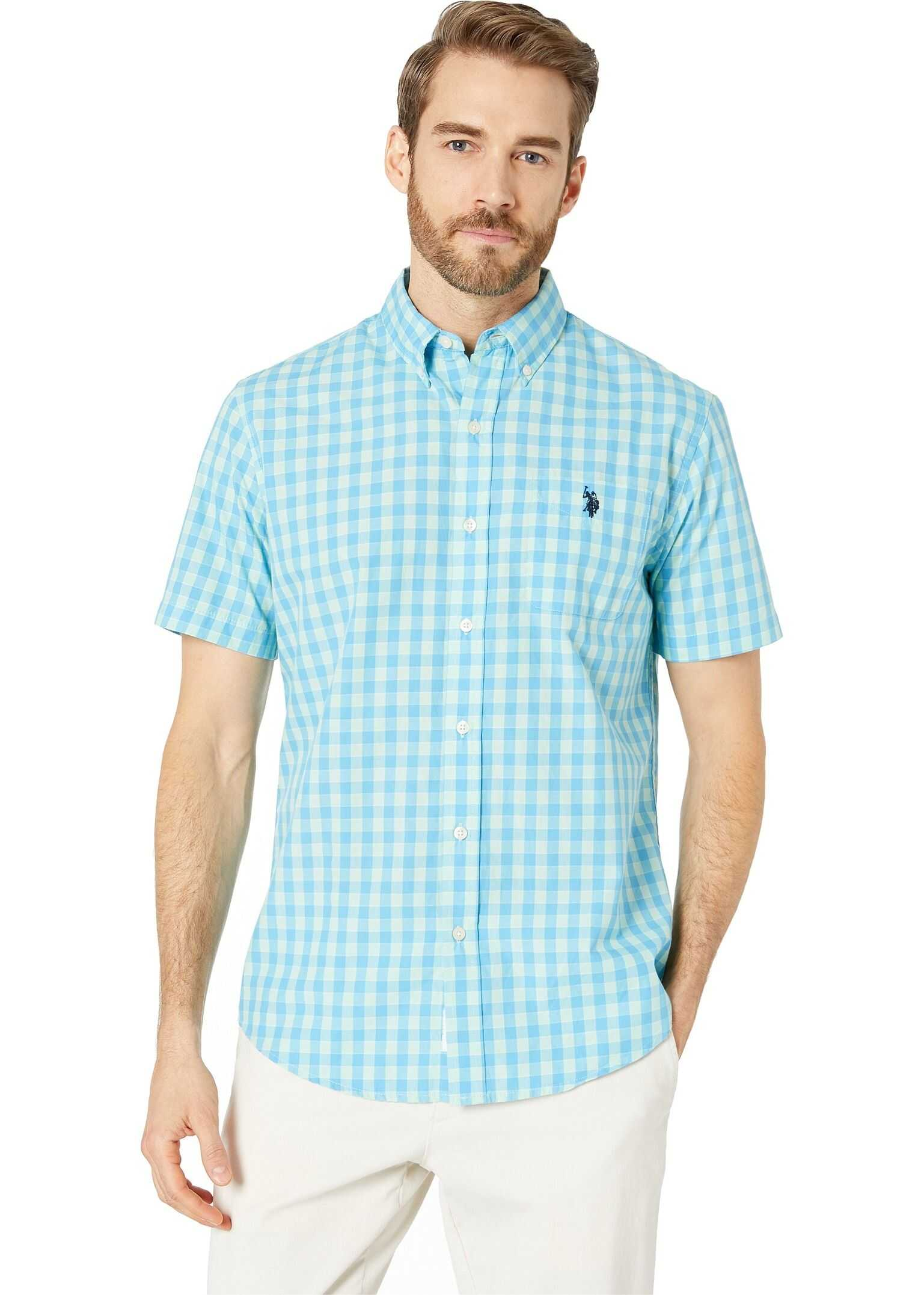 U.S. POLO ASSN. Short Sleeve Medium Check Woven Button Down Coast Azure
