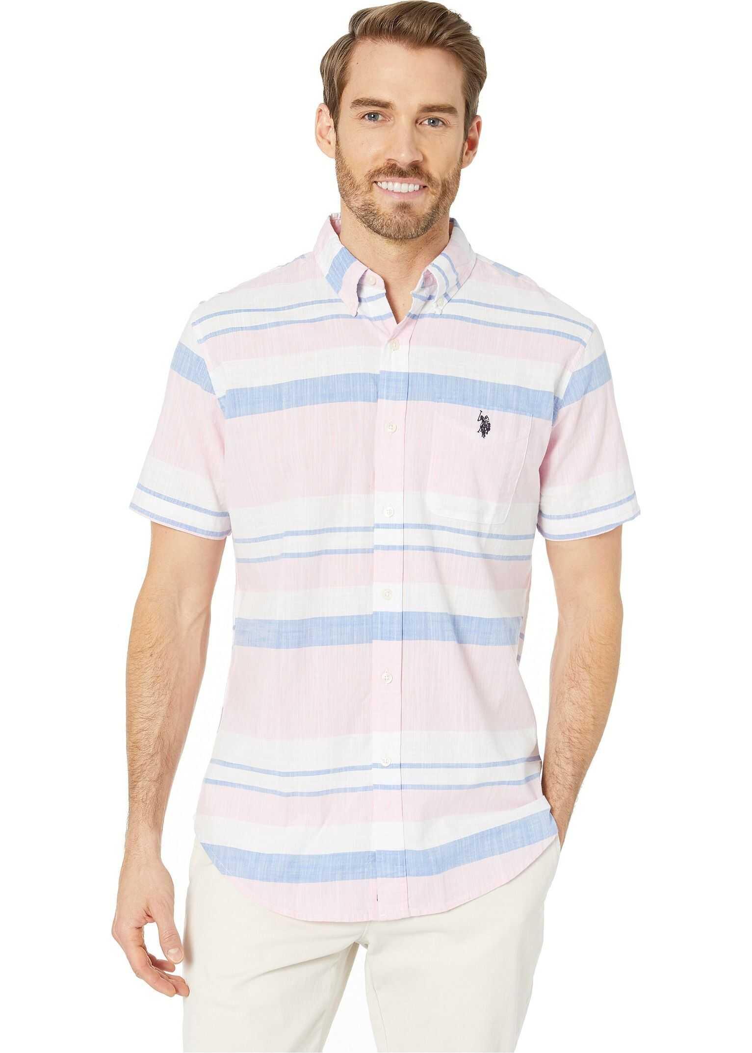 U.S. POLO ASSN. Horizontal Slub Stripe Button Down Pink Gin