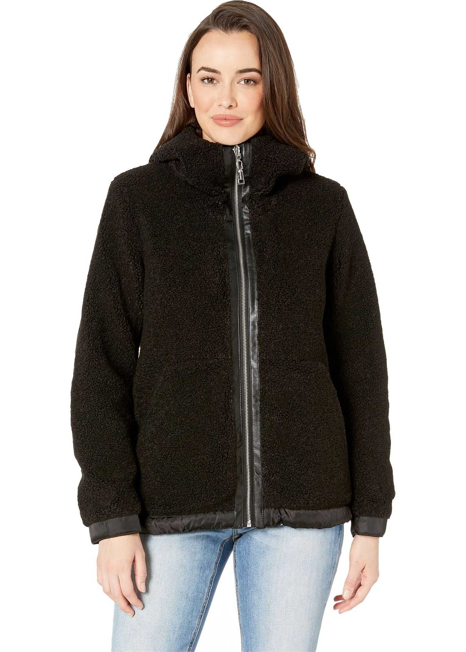 Vince Camuto Hooded Faux Shearling Jacket R8971 Black