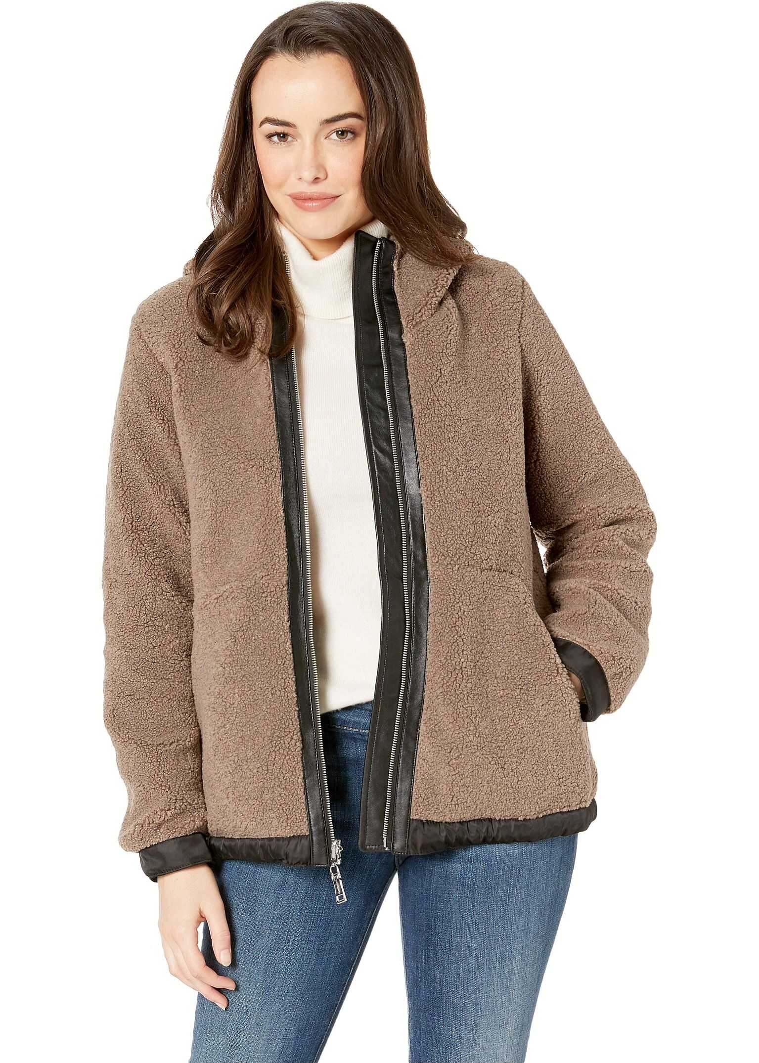 Vince Camuto Hooded Faux Shearling Jacket R8971 Mink