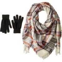 Manusi Classic Plaid Square Blanket Wrap with Etouch Glove Set Femei