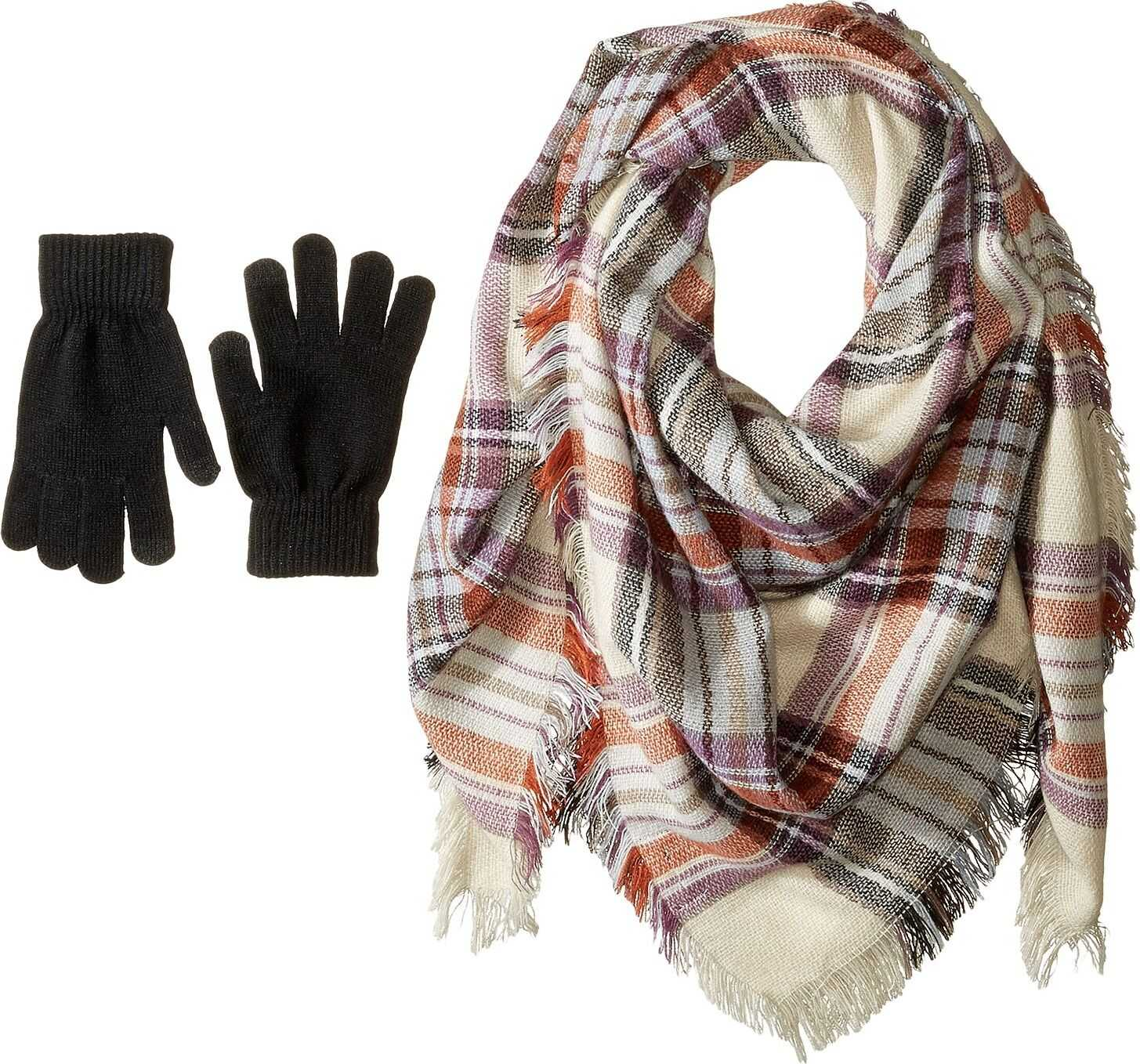 Steve Madden Classic Plaid Square Blanket Wrap with Etouch Glove Set Taupe