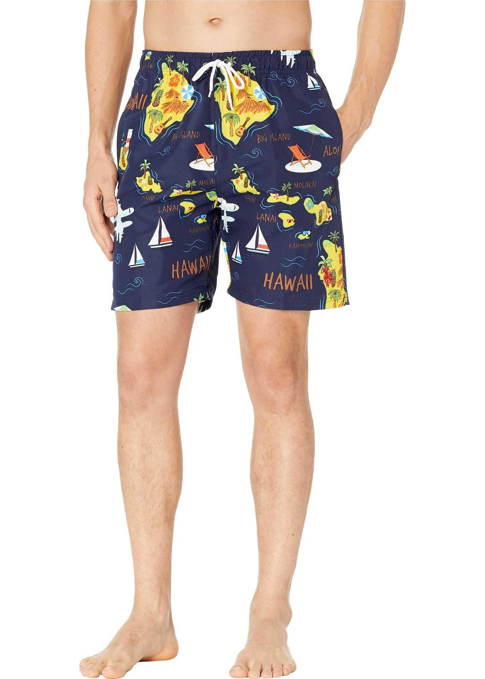 U.S. POLO ASSN. Hawaii Map Swim Shorts Classic Navy