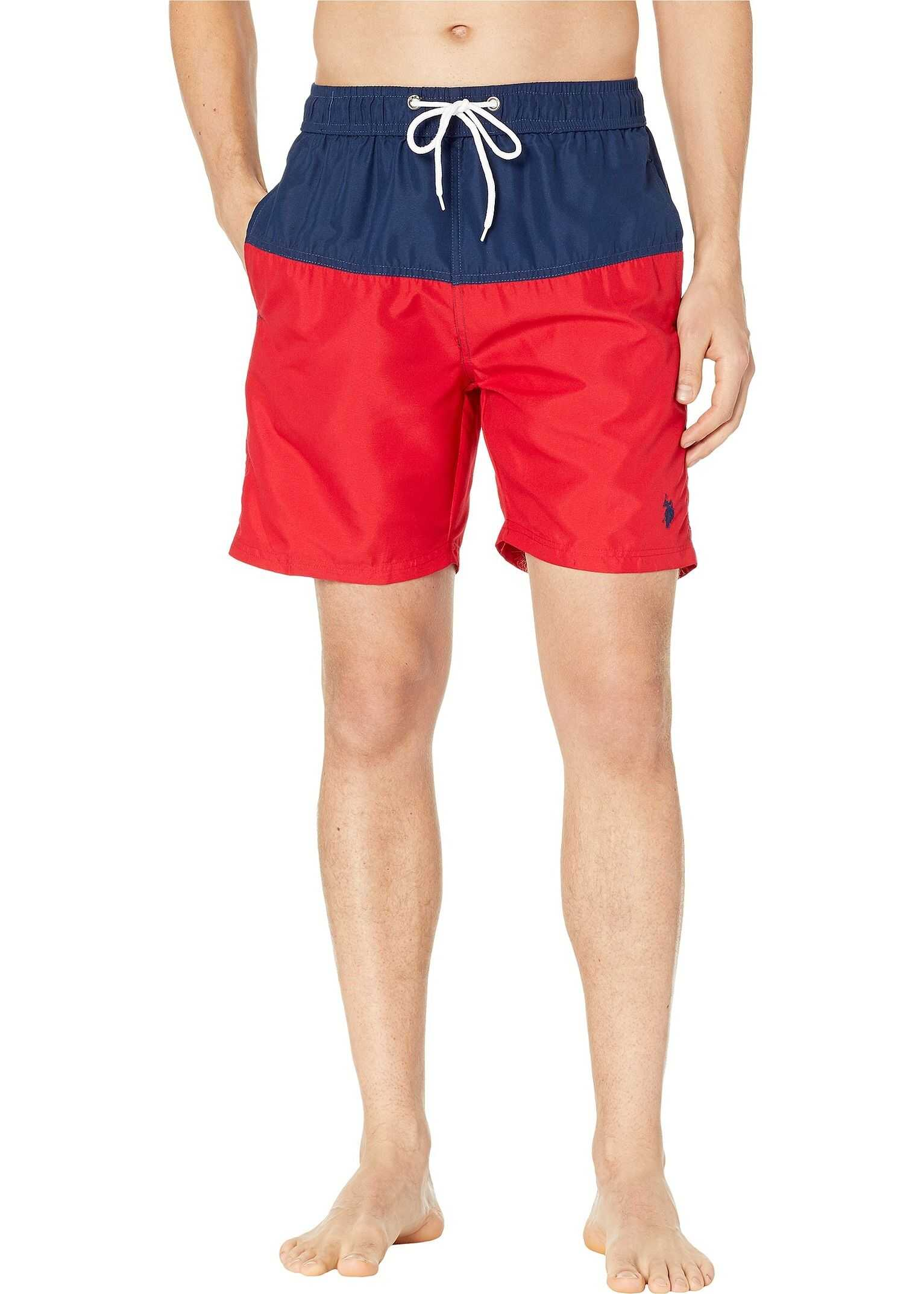 U.S. POLO ASSN. Color Block Swim Shorts Engine Red