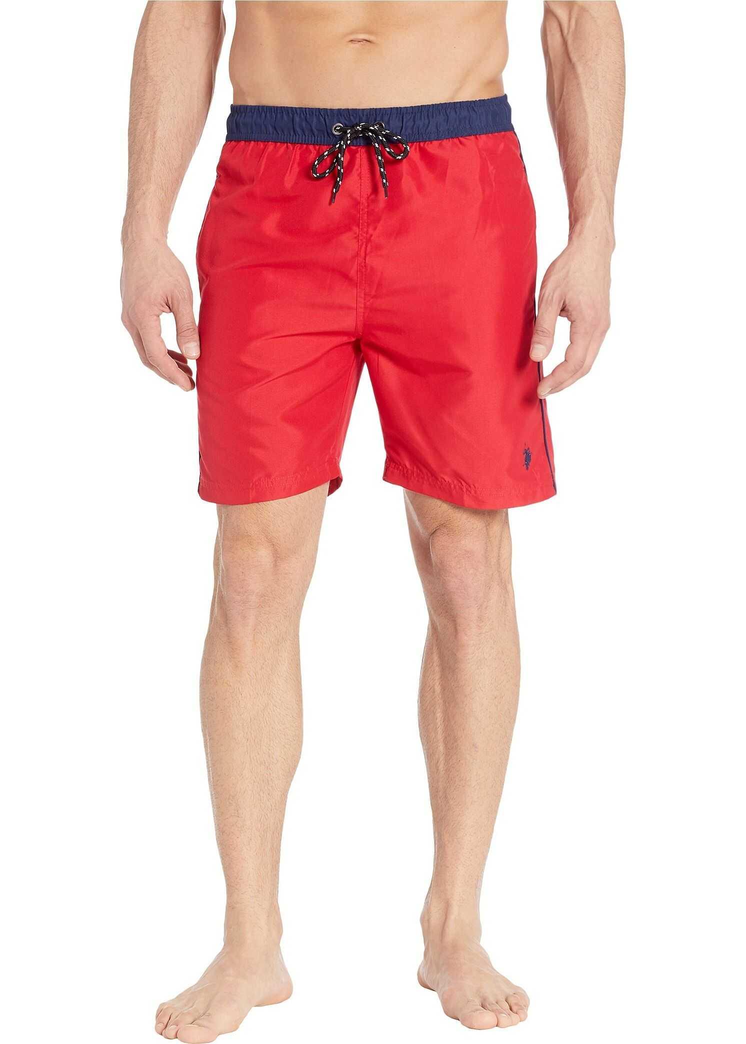 U.S. POLO ASSN. Contrast Waistband Swim Shorts Engine Red