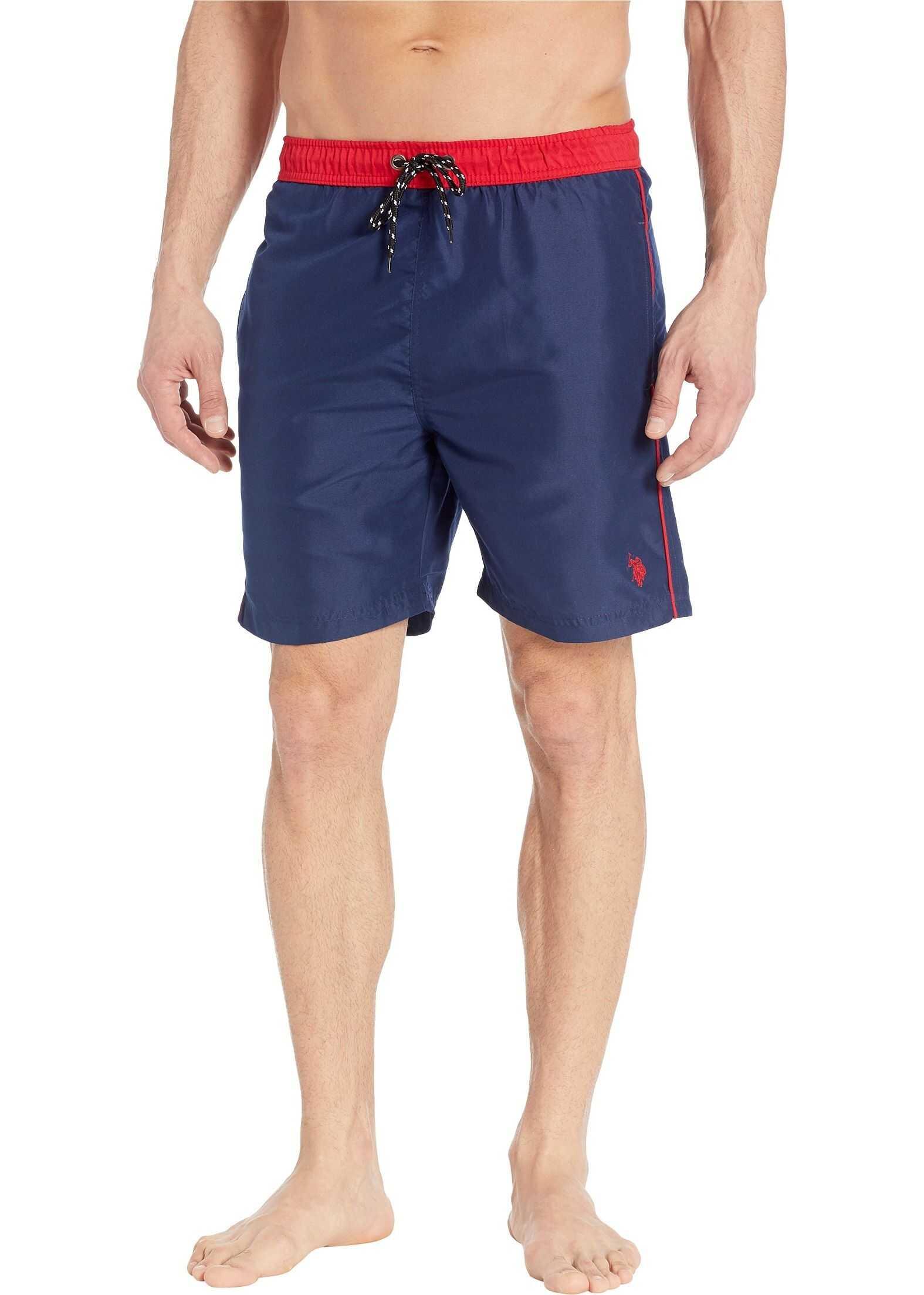 U.S. POLO ASSN. Contrast Waistband Swim Shorts Classic Navy