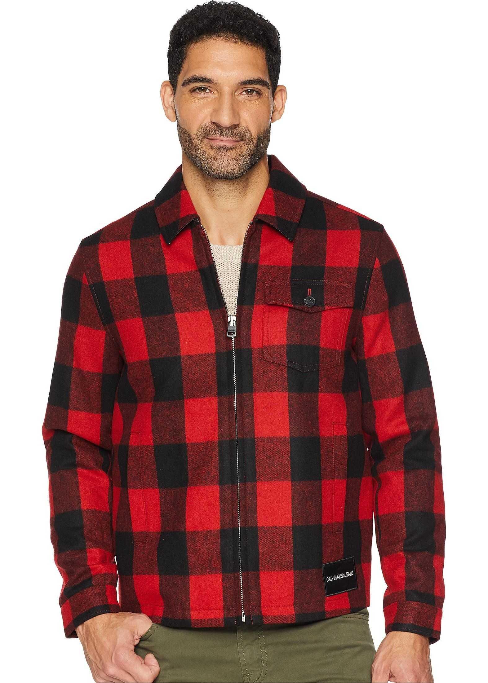 Calvin Klein Jeans Wool Buffalo Harrington Jacket Tomato