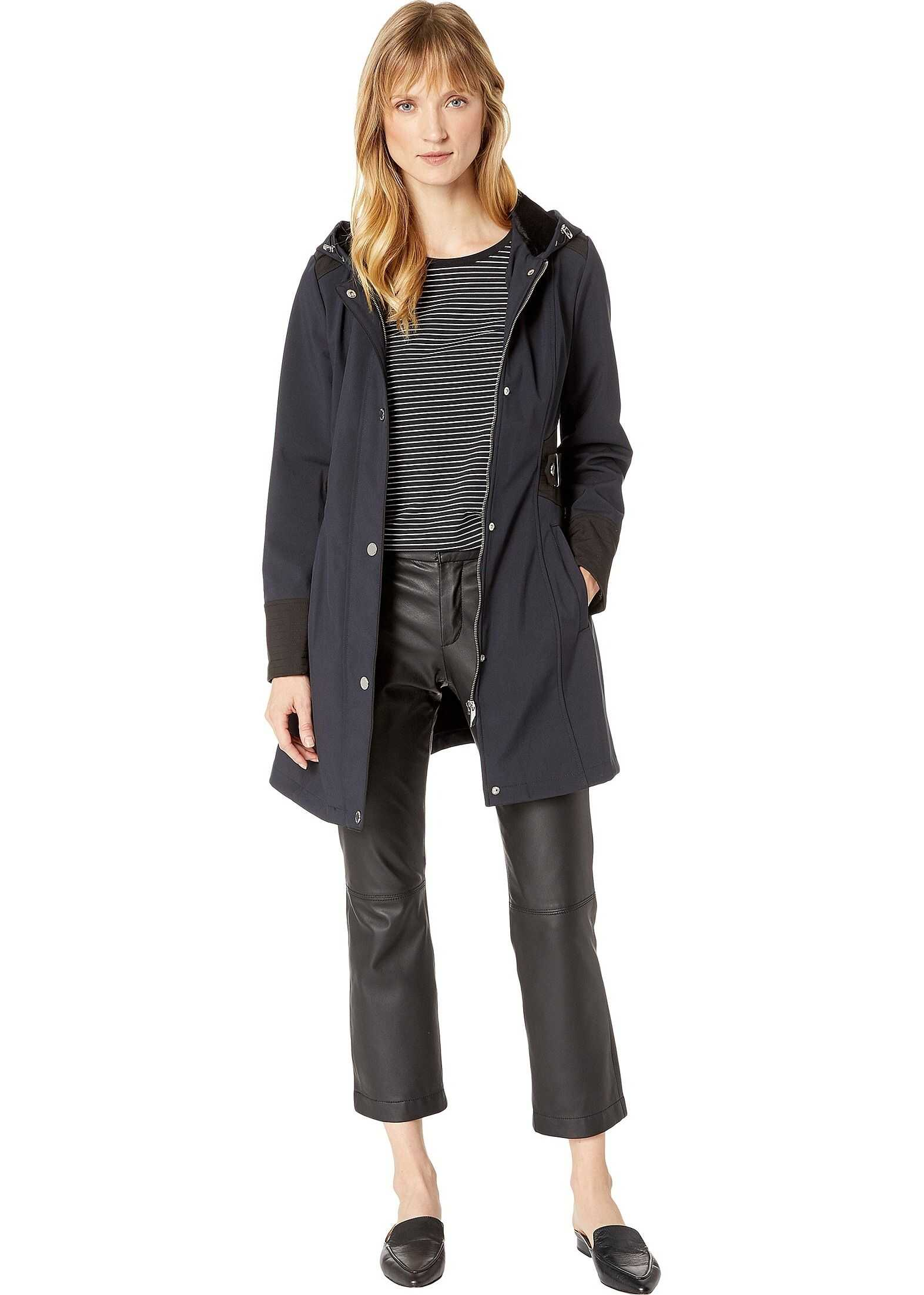 Two-Tone Ruched Sided Water Resistant Softshell with Faux Fur Cozy Backing & Hardware
