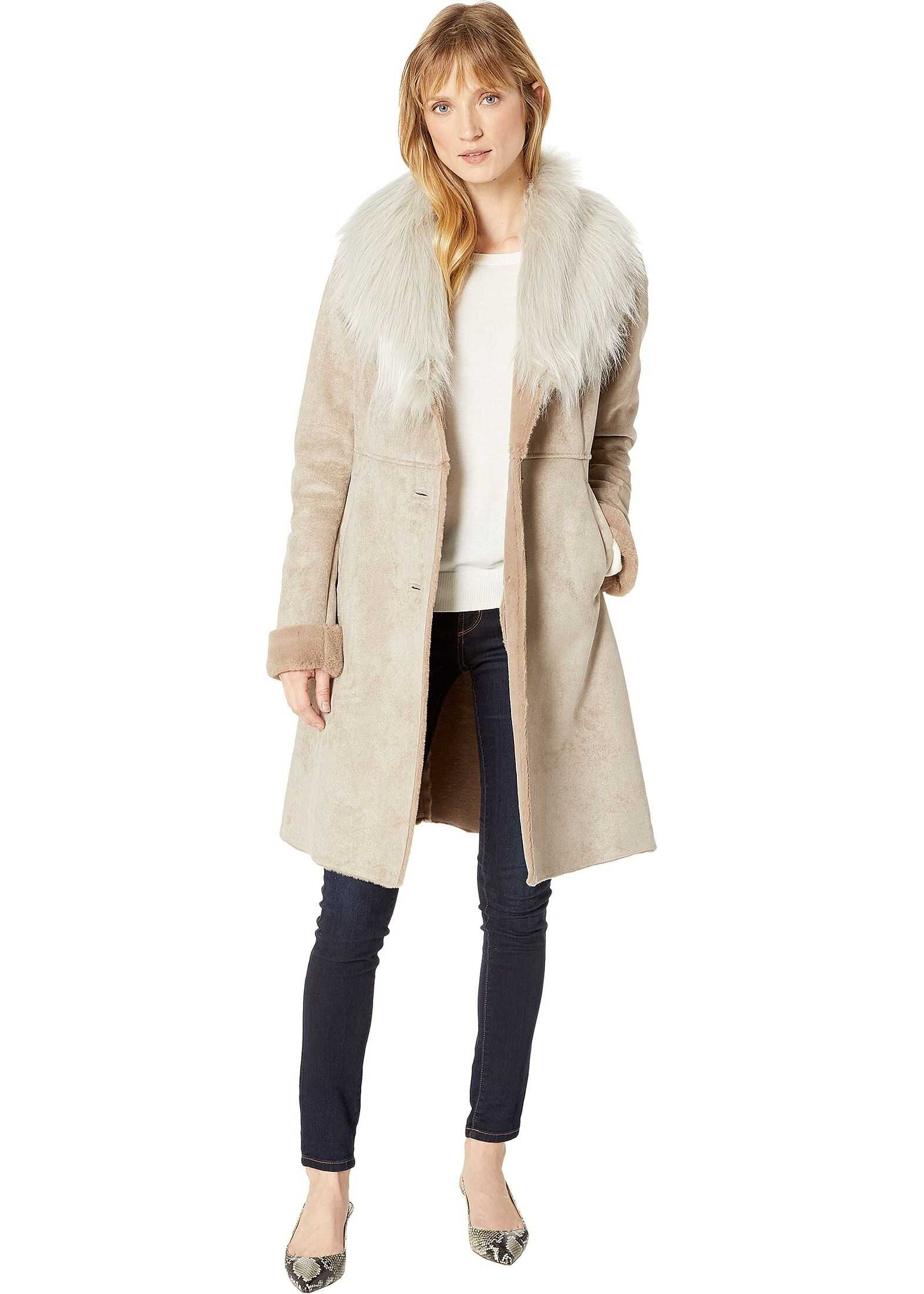 Faux Shearling Cozy Shawl Collar Button Down Coat