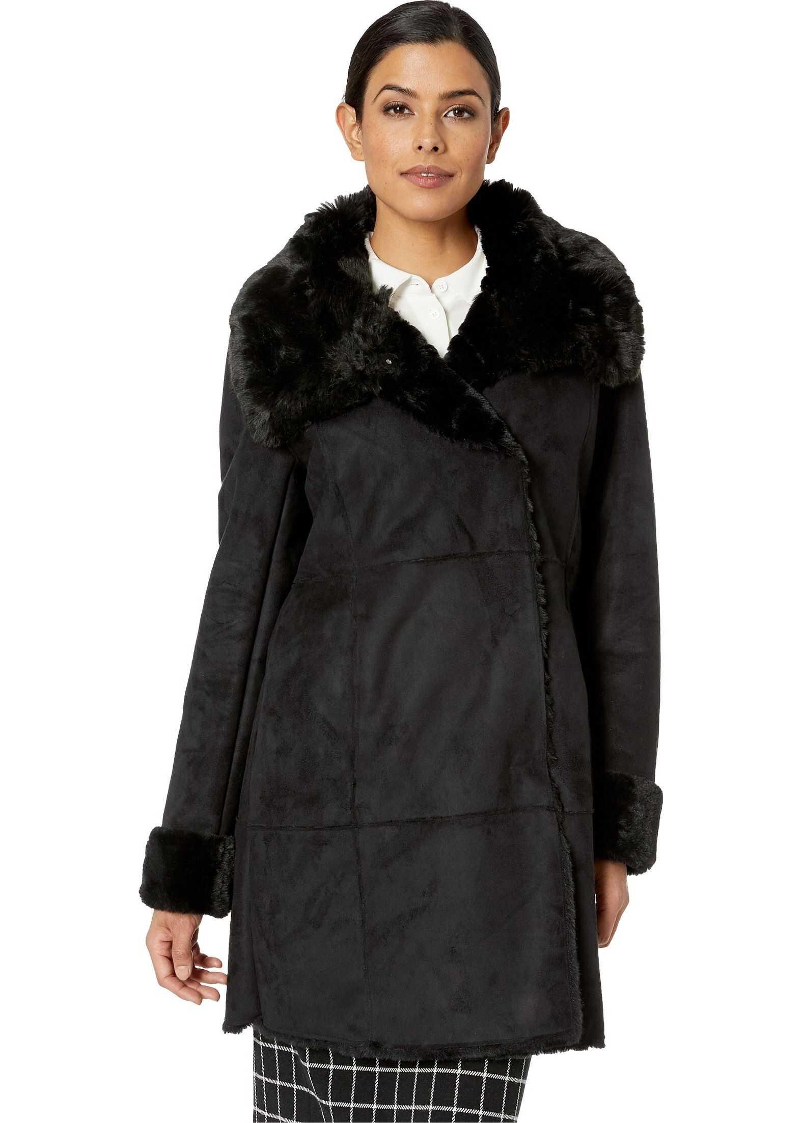 Ralph Lauren Asymmetrical Faux Shearling Coat Black