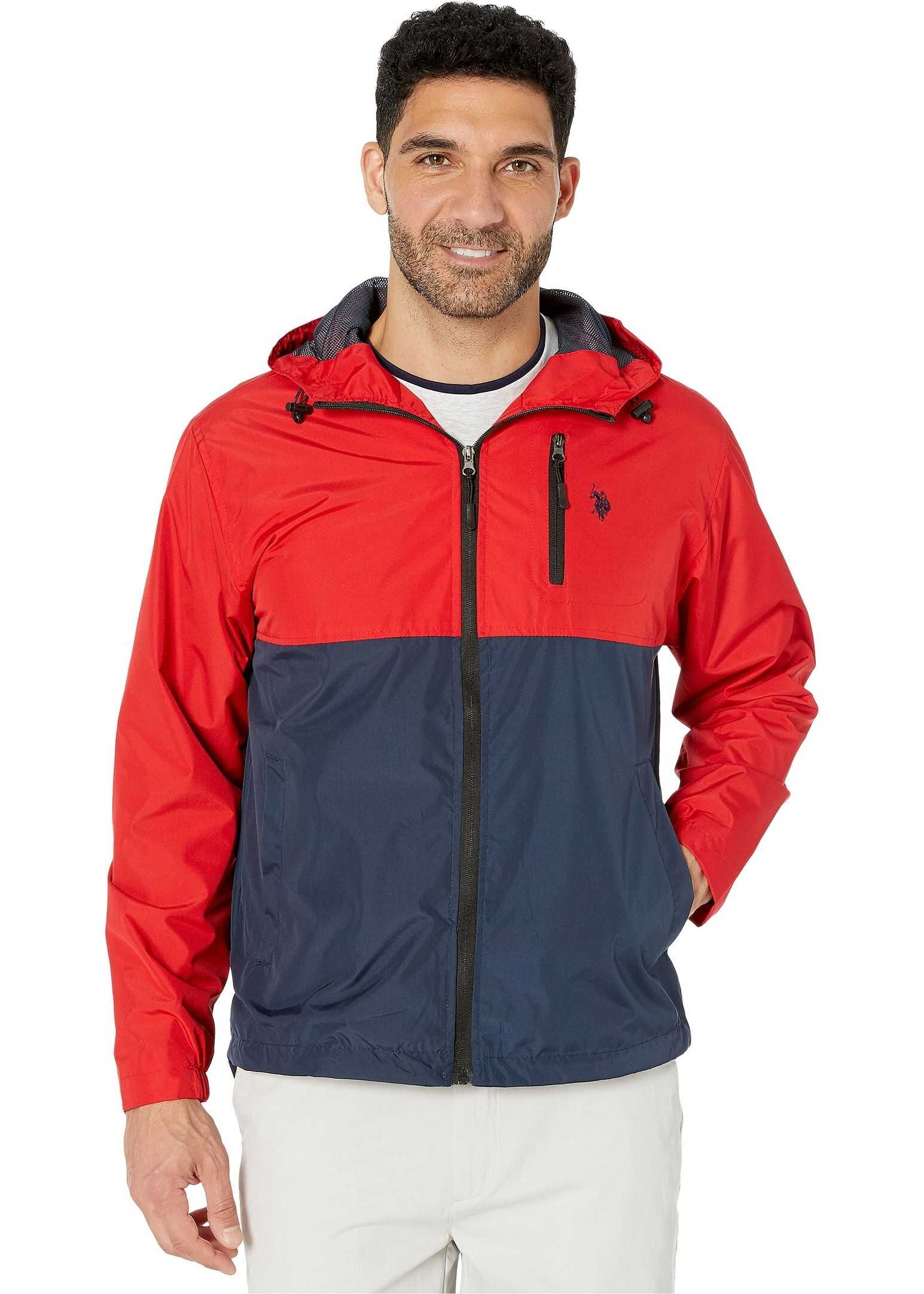 U.S. POLO ASSN. Color Block Windbreaker w/ Hood Classic Navy
