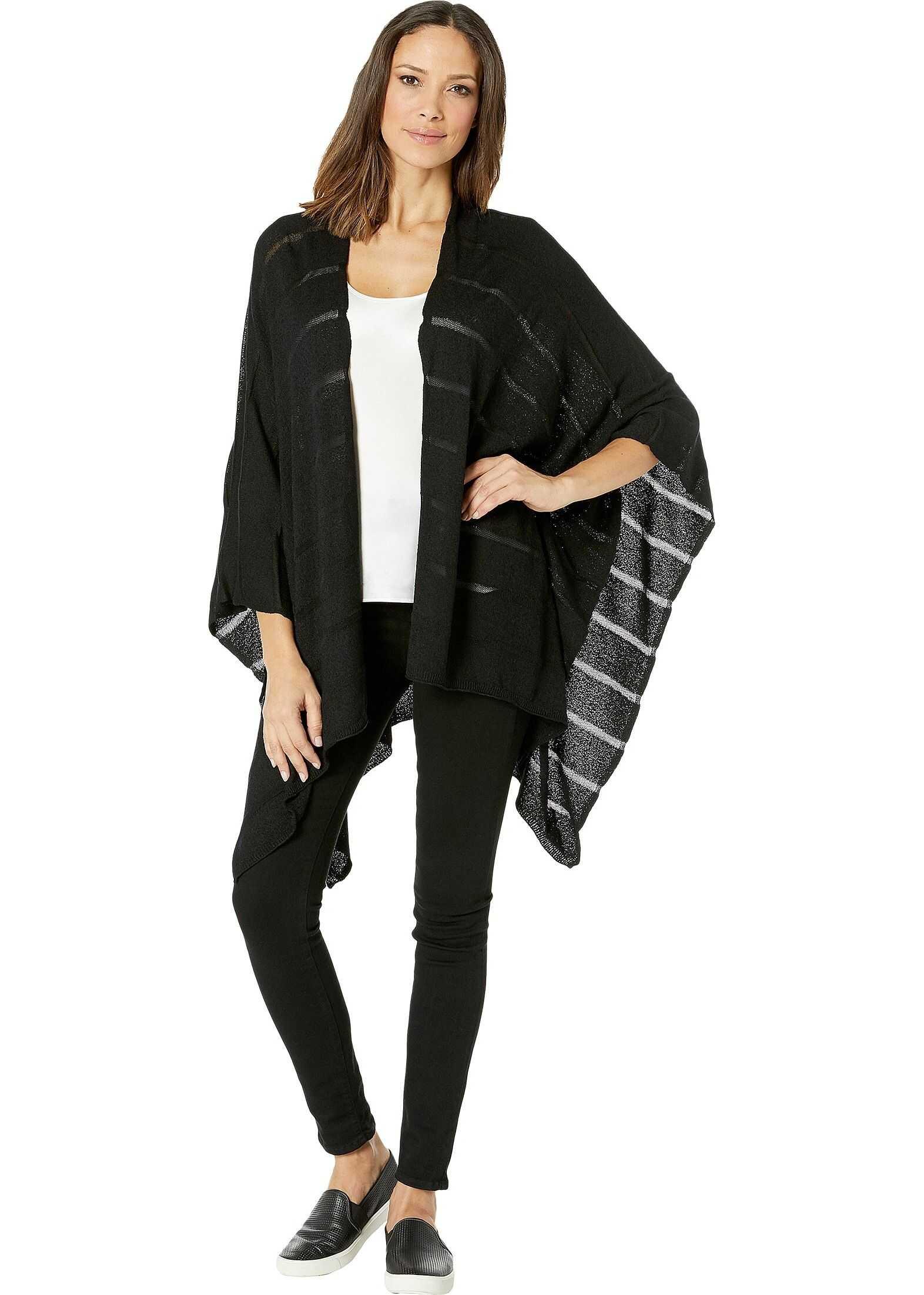 Calvin Klein Knit Shadow Stripe Shawl Black