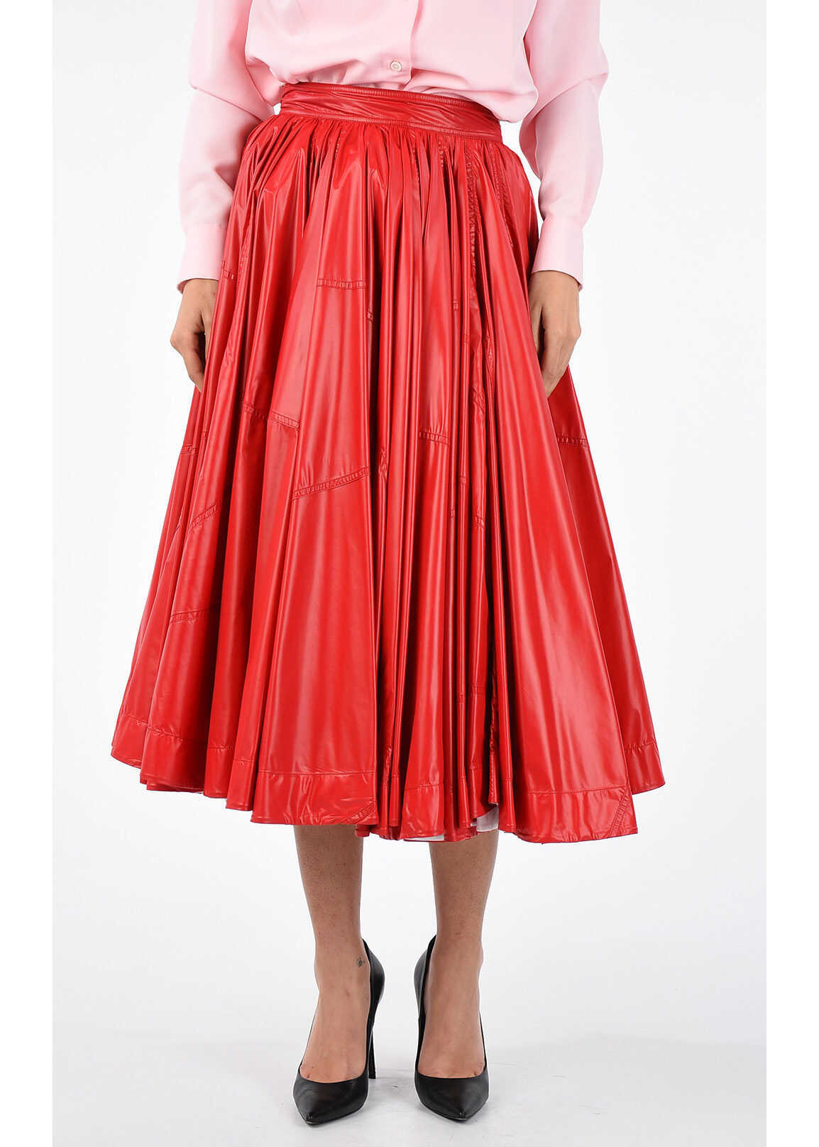 Calvin Klein 205W39NYC Flared Skirt RED