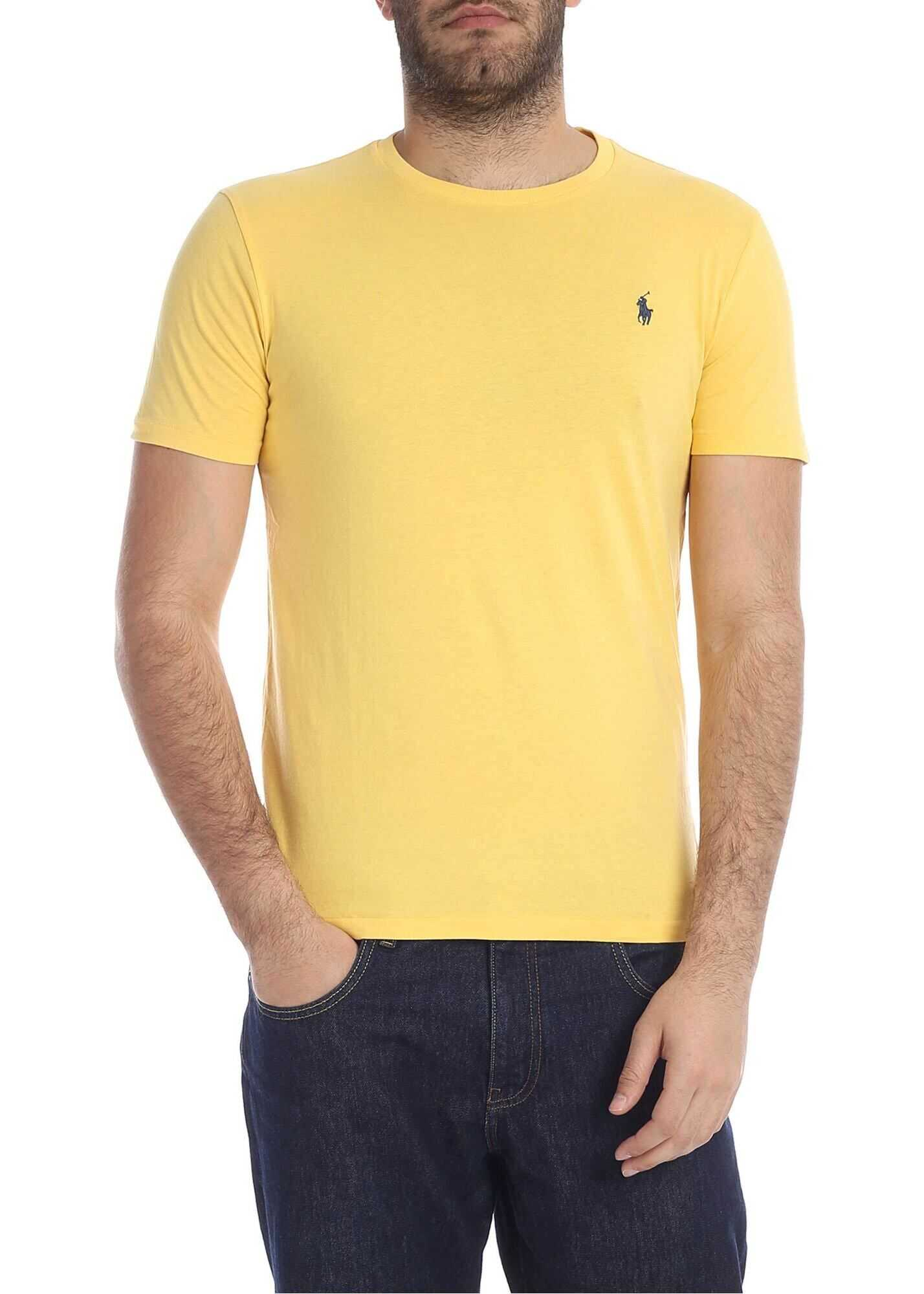T-Shirt In Yellow With Blue Logo Embroidery
