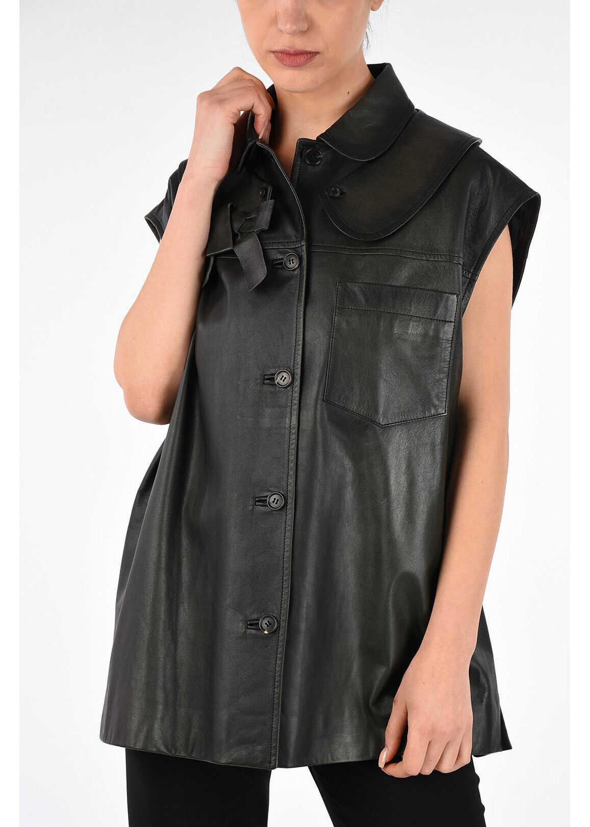 Miu Miu Leather Gilet DARK GRAY