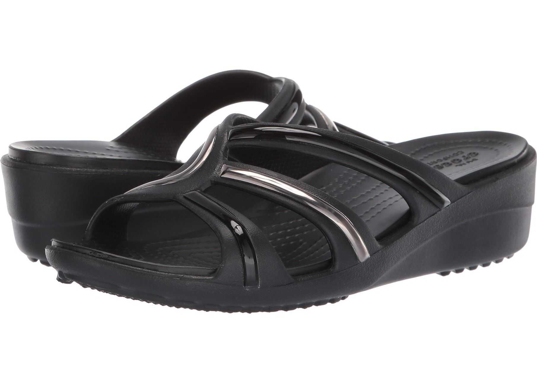 Crocs Sanrah Metalblock Strap Wedge Multi Black/Black