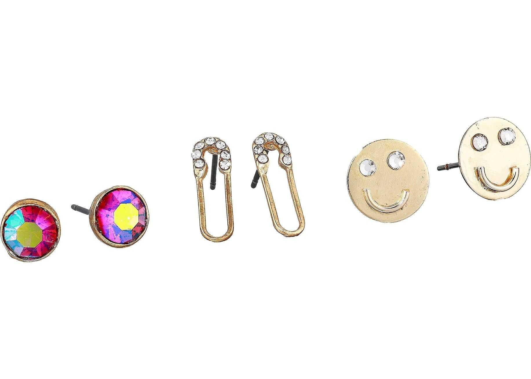 Steve Madden Pin Face Stud Post Earrings Trio Gold