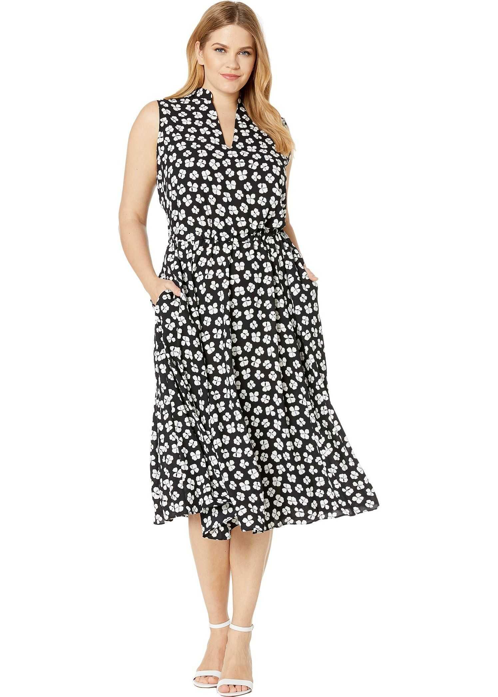Anne Klein Plus Size Petal Printed Drawstring Midi Dress Anne Black/Anne White Combo