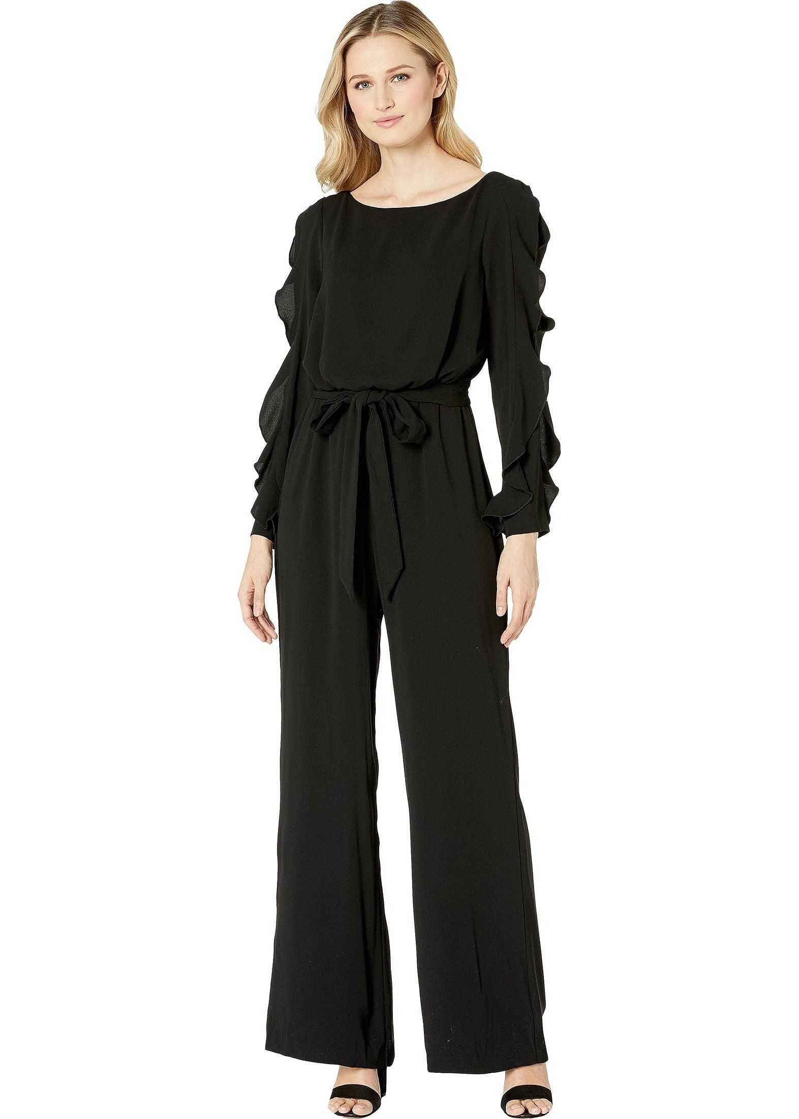 Adrianna Papell Fancy Crepe Ruffled Jumpsuit Black