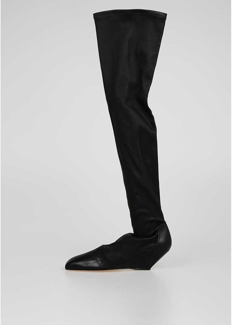 Rick Owens Pull On THIGH HIGH SQUARE BOOT Boots BLACK