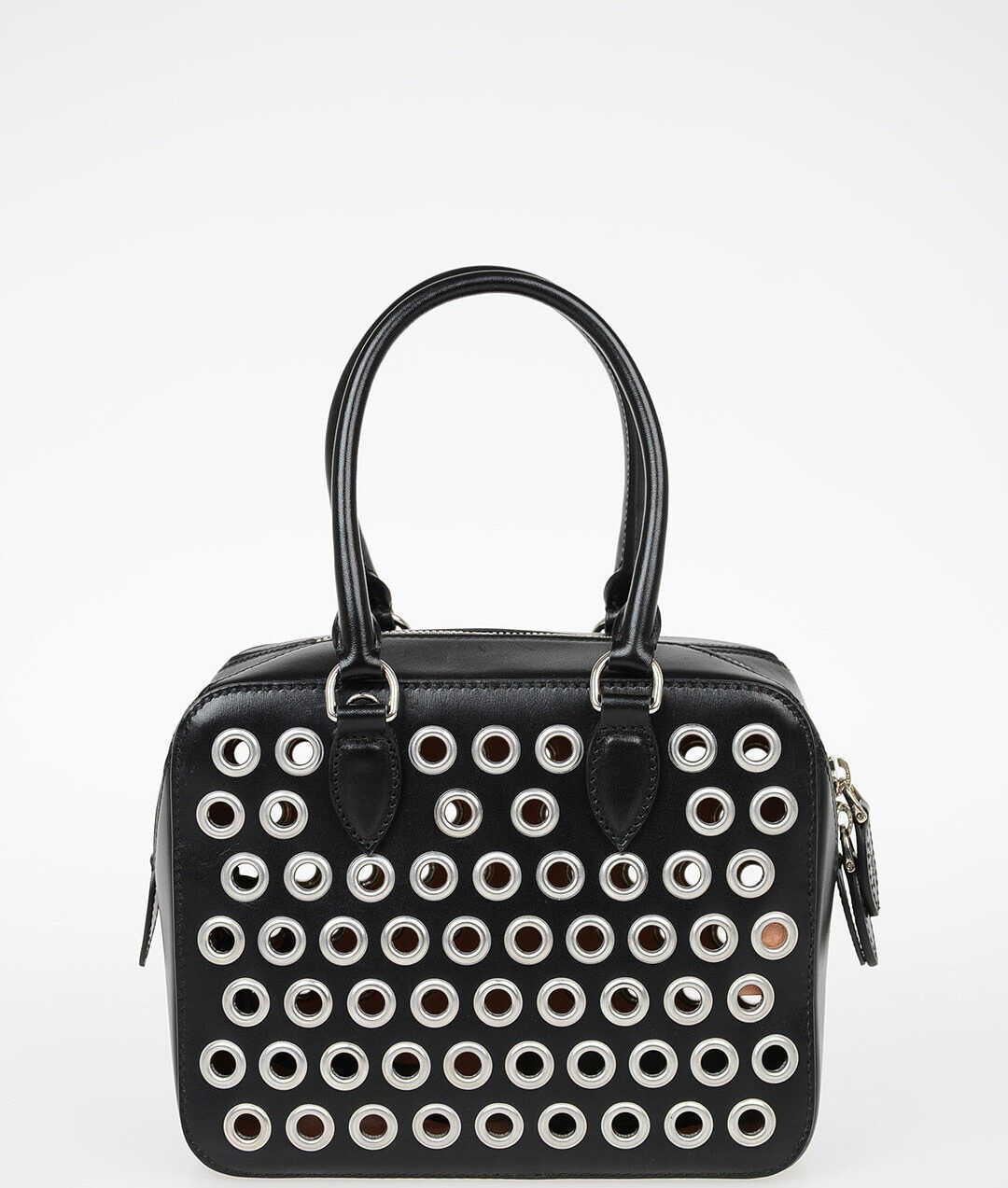 Alaïa Leather Bowler Bag with Ayelets BLACK