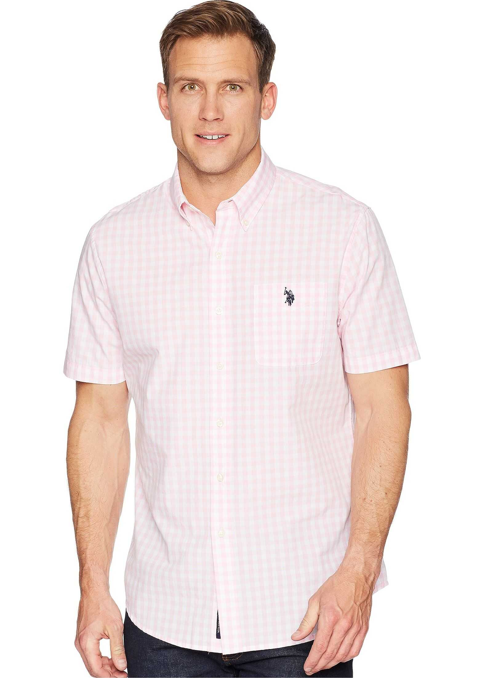 U.S. POLO ASSN. Gingham Woven Shirt Pink Gin