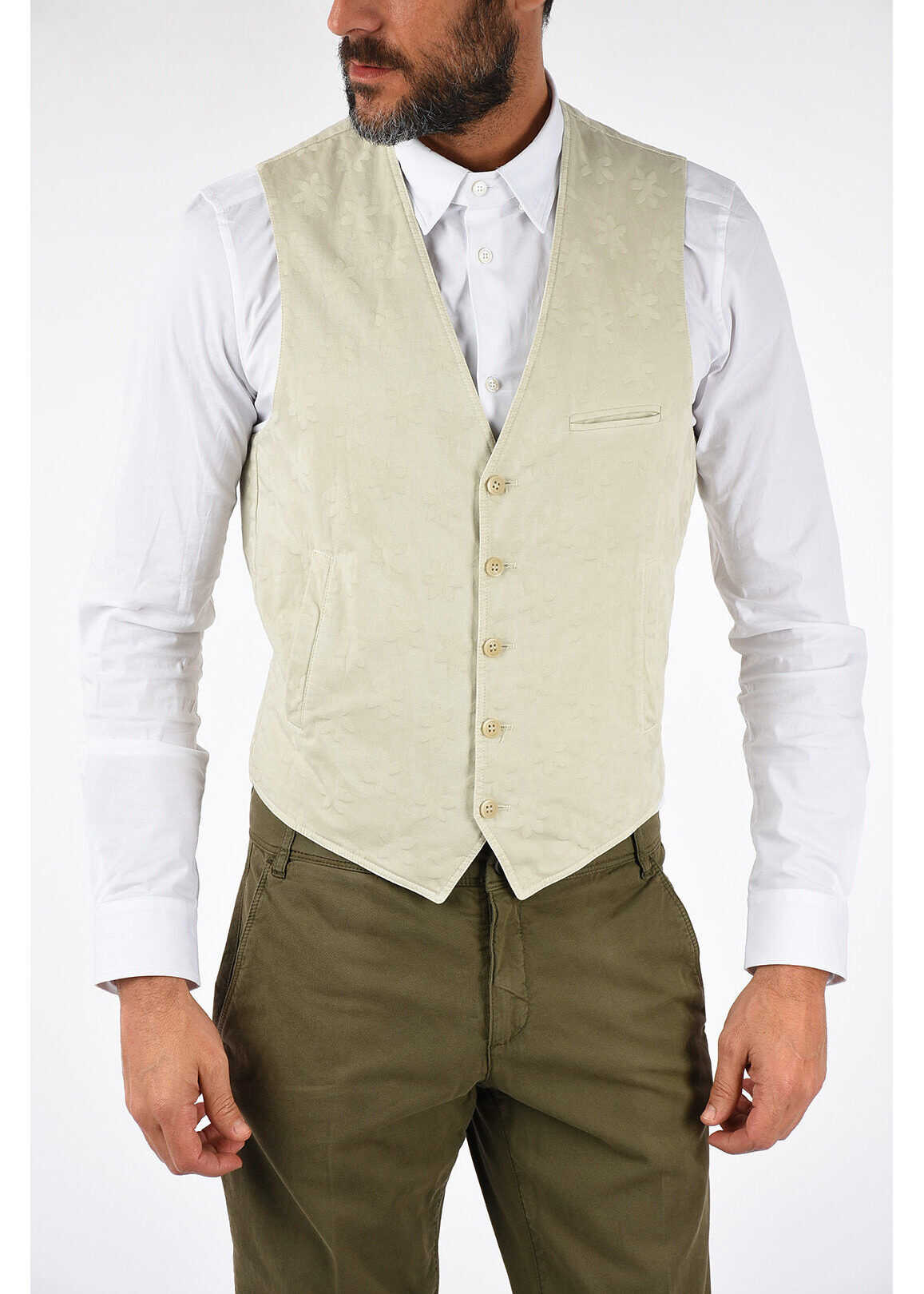 CORNELIANI CC COLLECTION Flowers Embroidered Gilet BEIGE