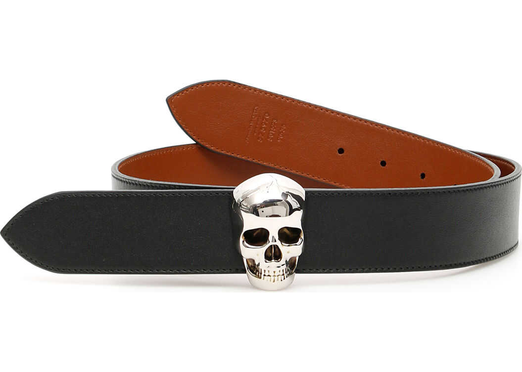 Alexander McQueen Reversible Skull Belt BLACK TAWNY BROWN