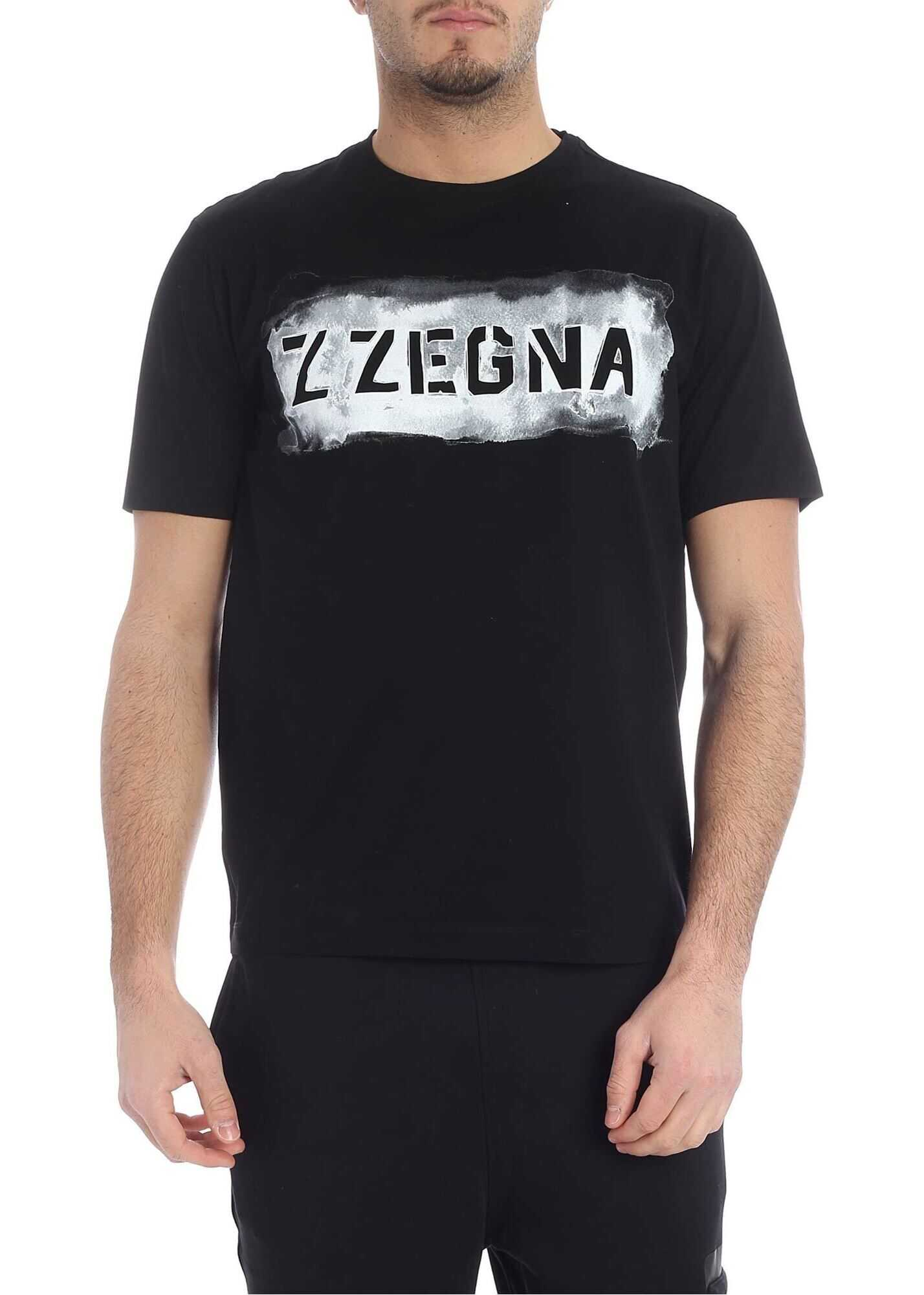 Black T-Shirt With Zzegna Logo