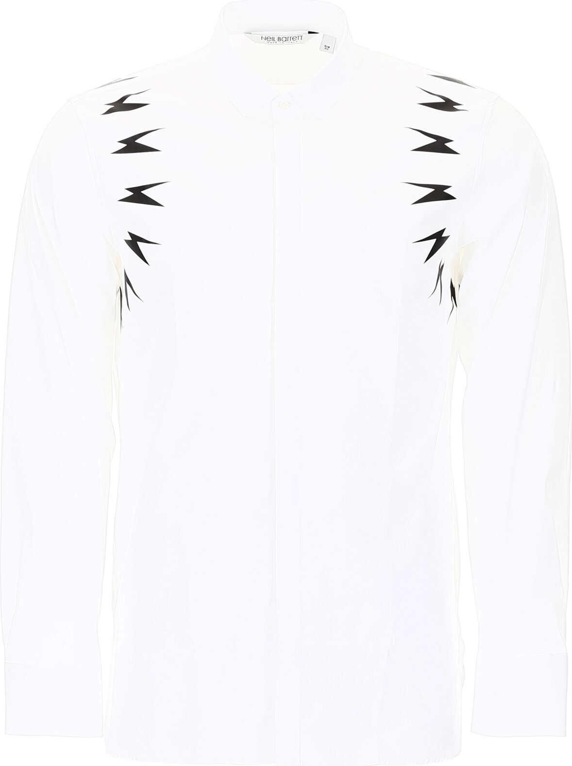 Neil Barrett Thunder Print Shirt WHITE BLACK