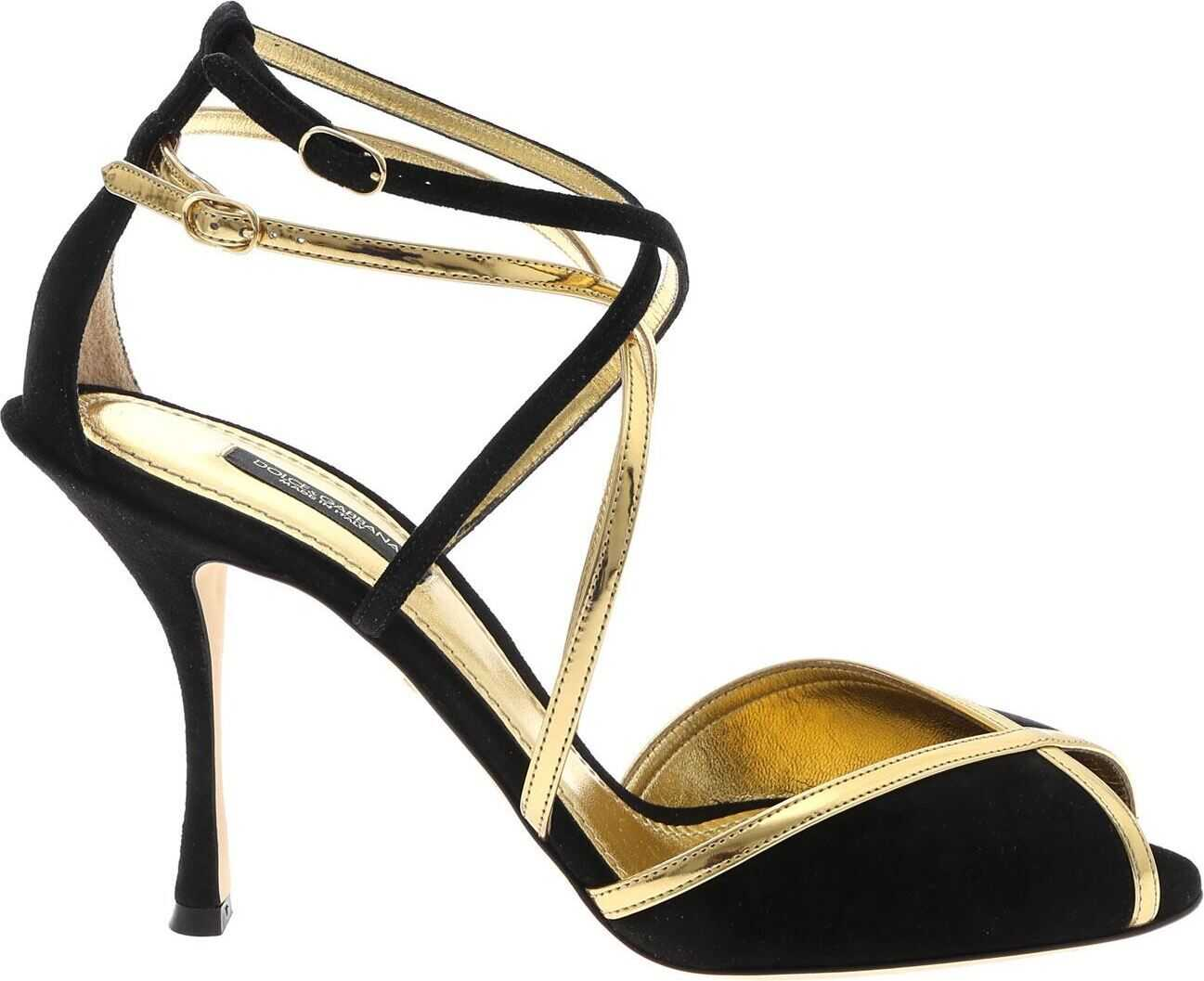 Prada Heeled Sandals In Gold And Black Gold