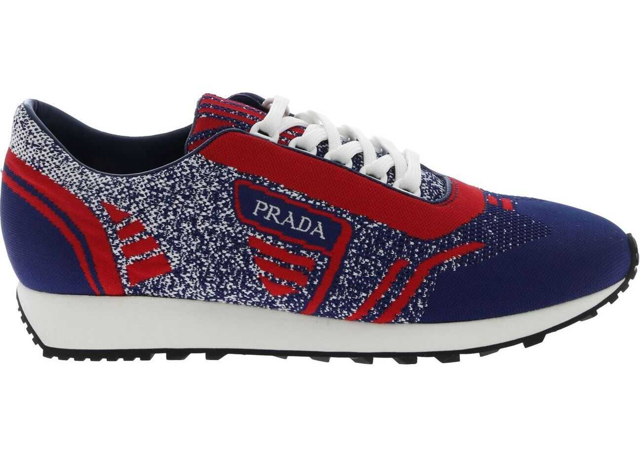 Prada Knit 5 Sneakers In Blue And Red Blue