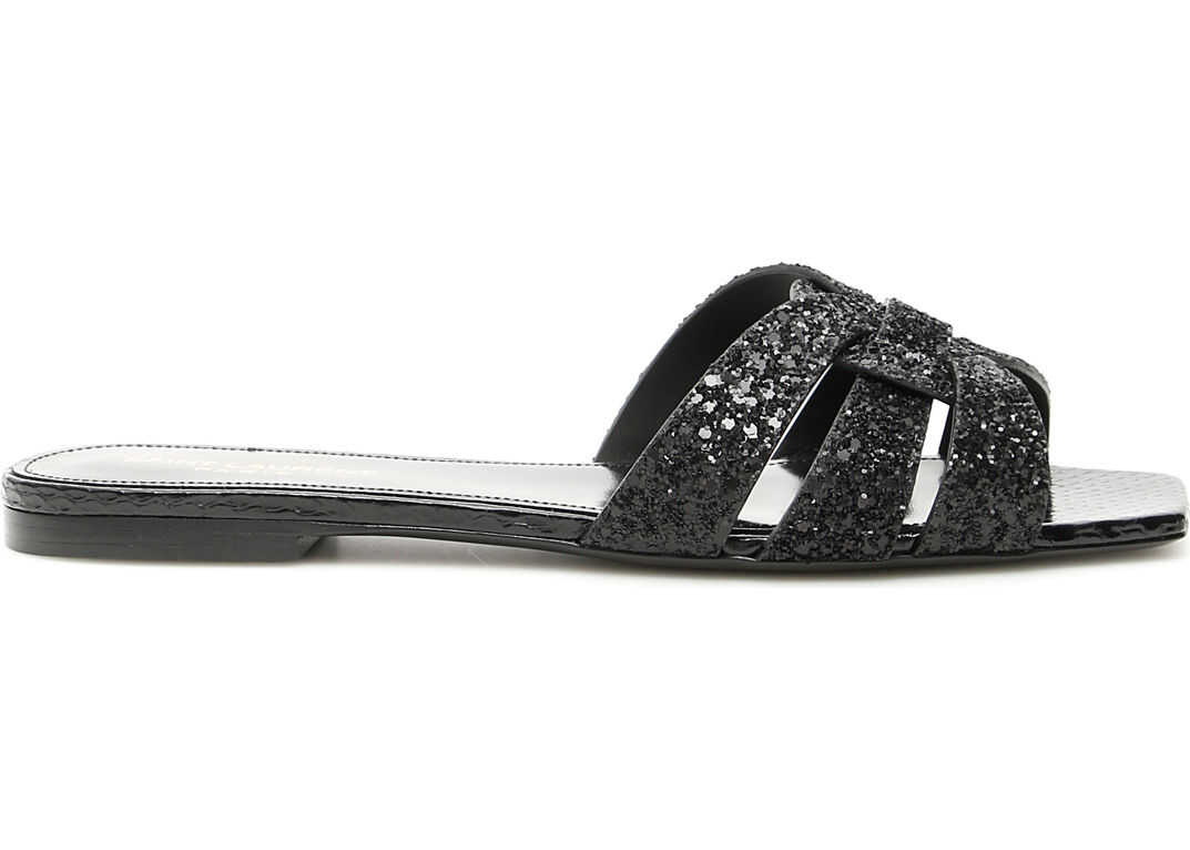 Saint Laurent Glitter Nu Pieds Tribute Sandals NERO GLIT BLACK