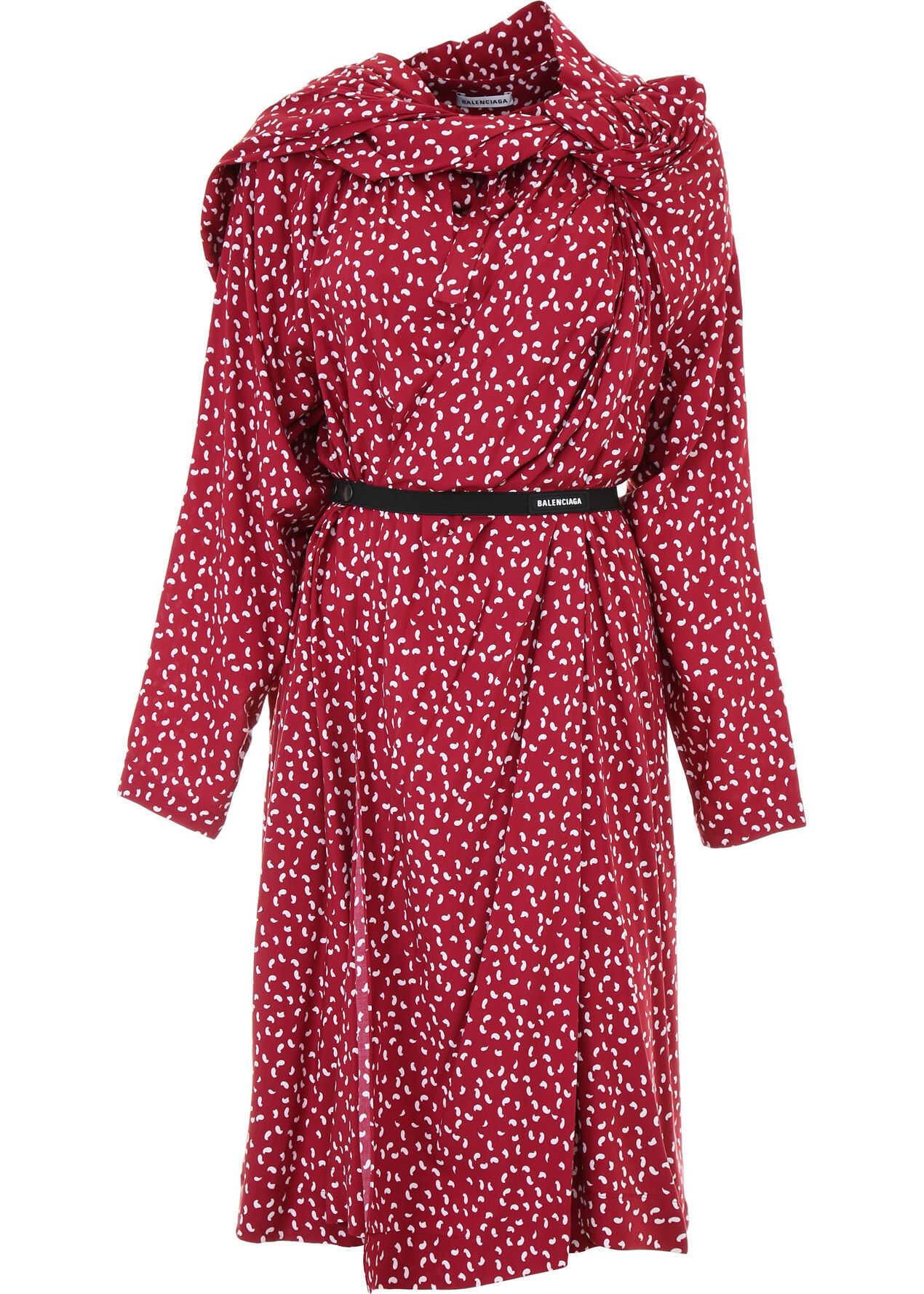 Balenciaga Dress With All-Over Print BORDEAUX