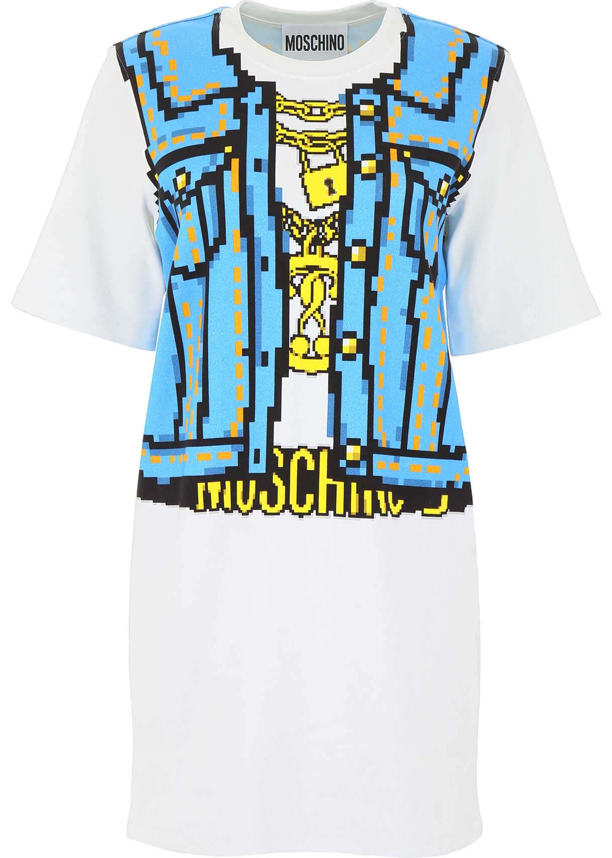 Moschino Denim Print Mini Dress FANTASIA BIANCO