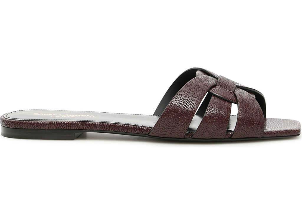 Saint Laurent Nu Pieds Slides CIGAR BURGUNDY