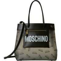 Genti de mana Moschino Front Zip All Over Logo Tote