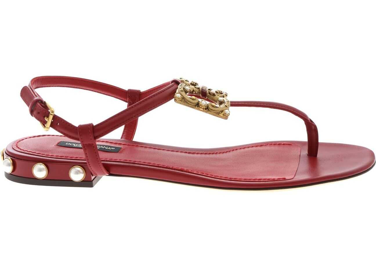 Dolce & Gabbana Sandals In Red With Golden Logo Red
