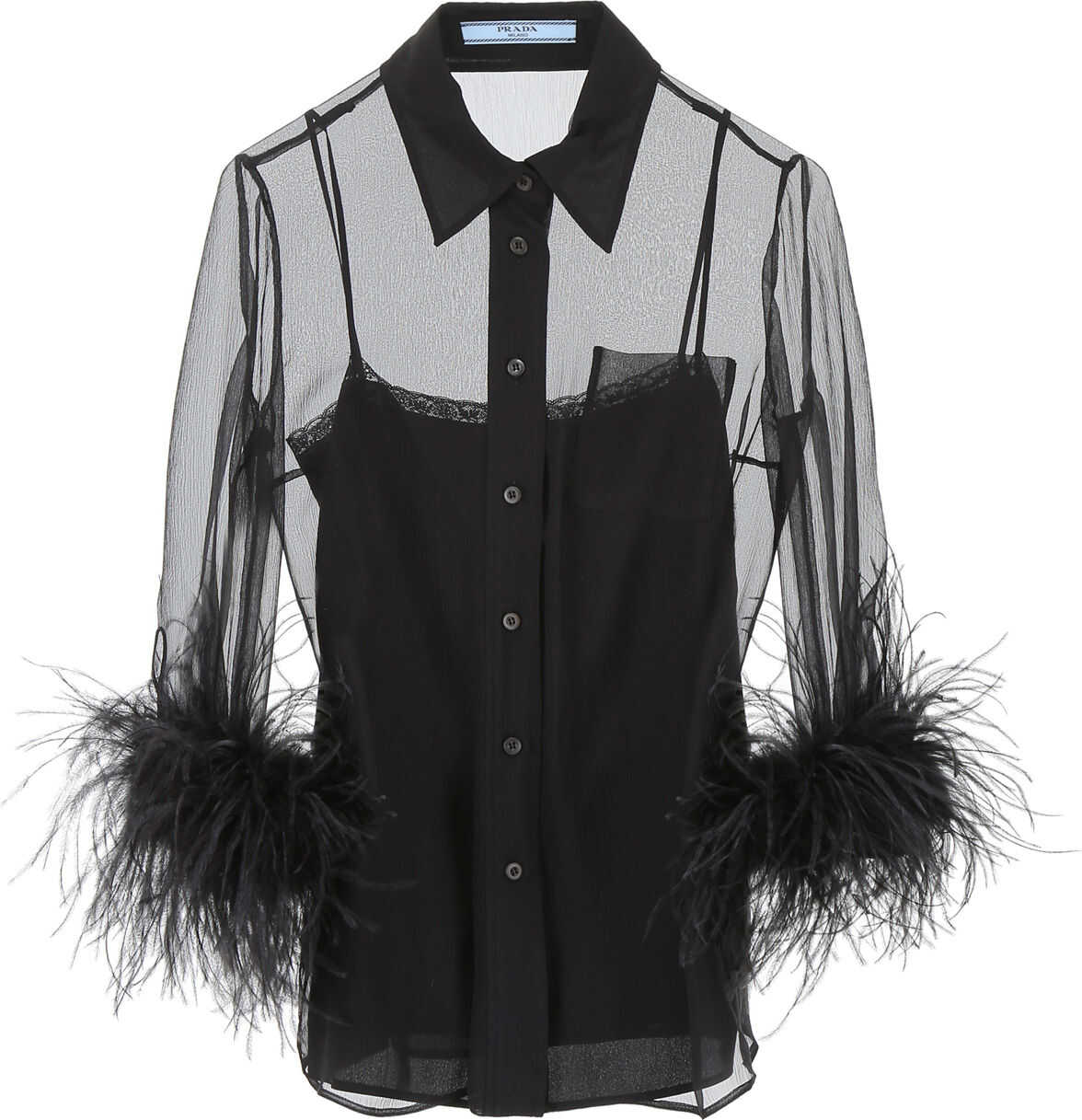 Prada Shirt With Feathers NERO NERO