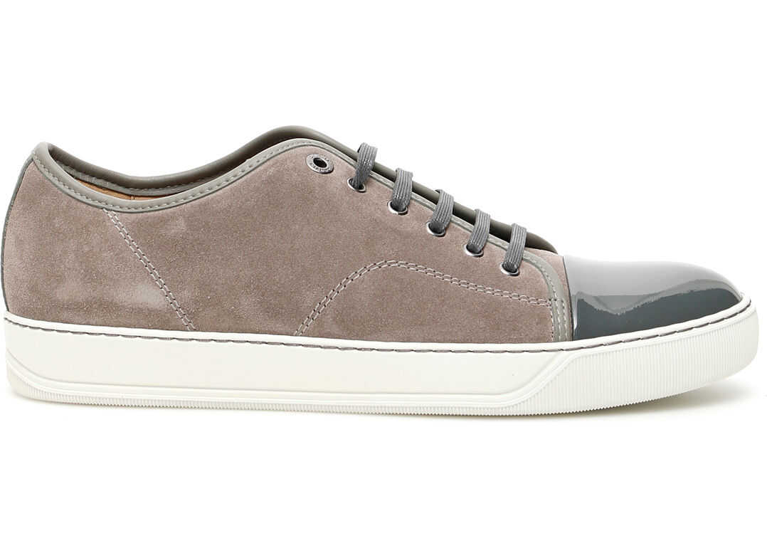Lanvin Suede And Patent Sneakers GREY