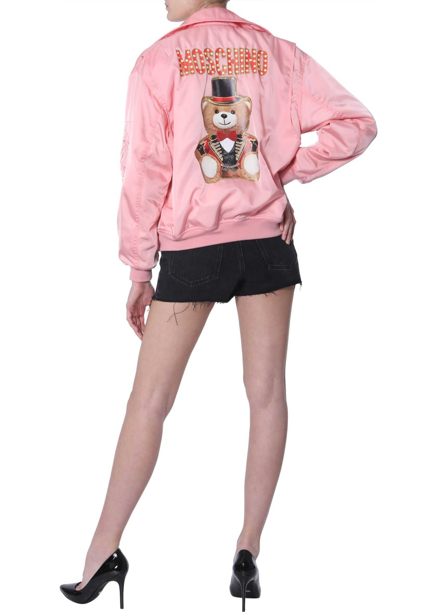 Moschino Teddy Bear Circus Printed Bomber Jacket PINK