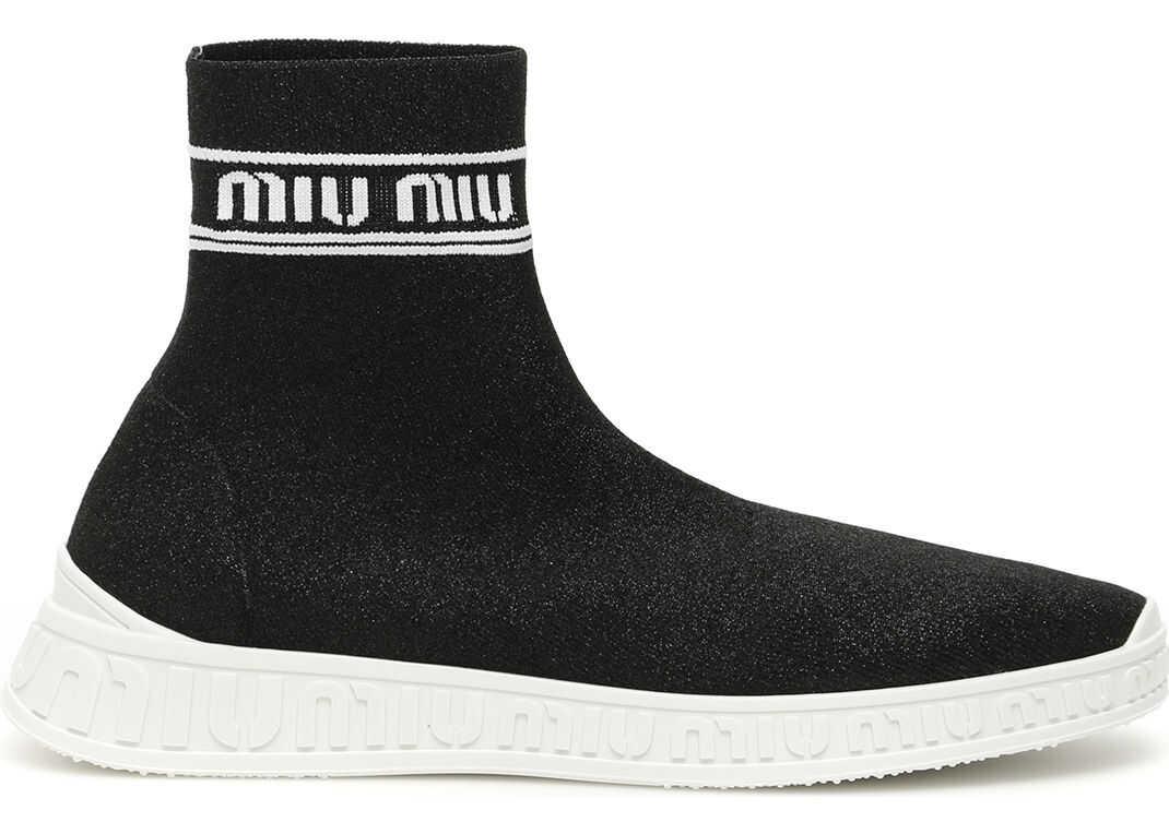 Miu Miu Logo Sock Sneakers NERO BIANCO