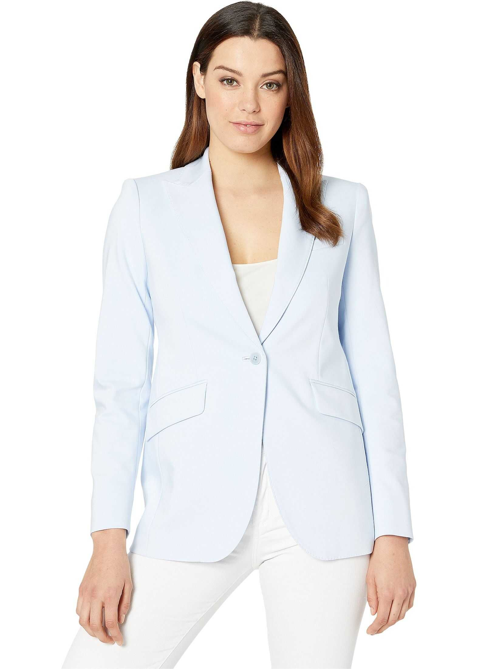 Anne Klein Double Weave Long Jacket Blue Ridge