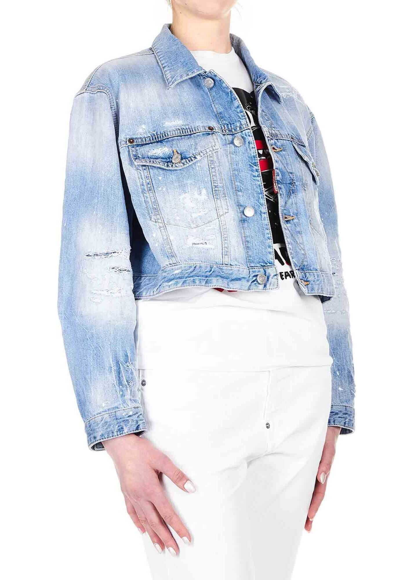 DSQUARED2 Maxi Jean Jacket In Light Blue Light Blue