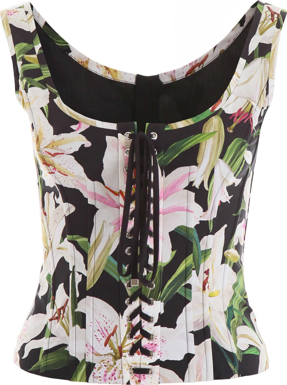 Dolce & Gabbana Lily Print Bustier Top GIGLI FDO NERO
