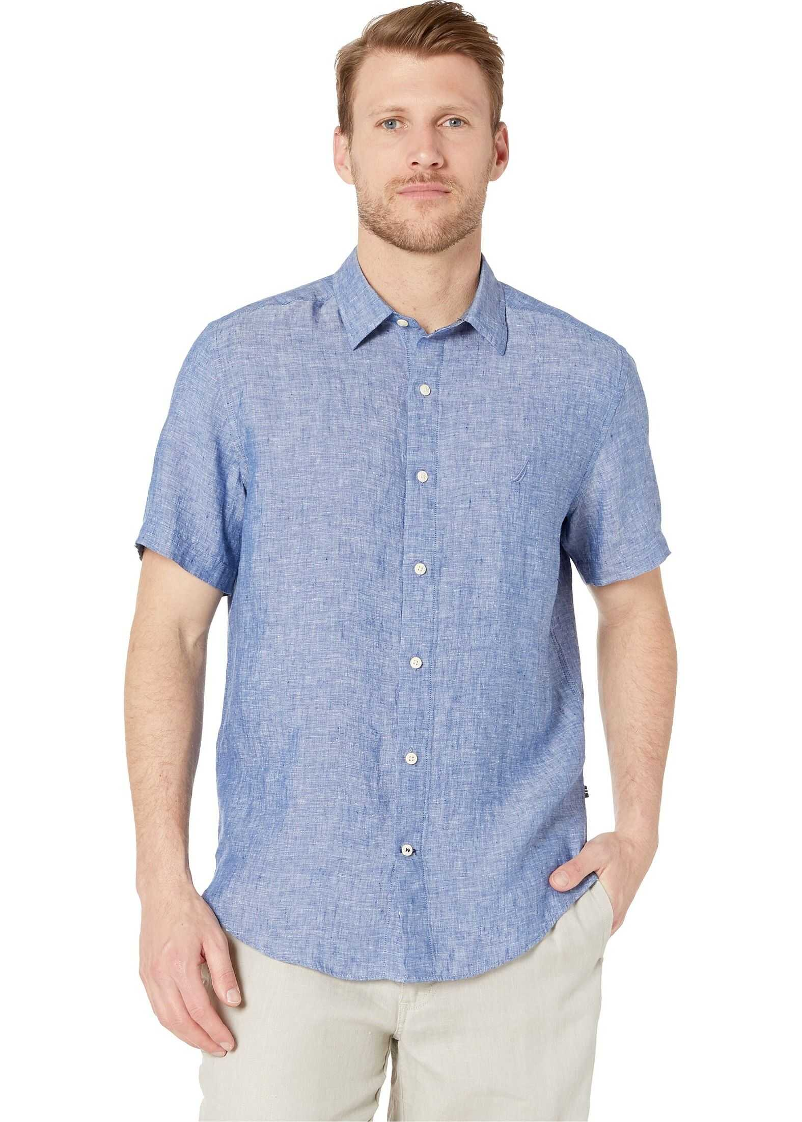 Nautica Short Sleeve Solid Linen Shirt Limoges